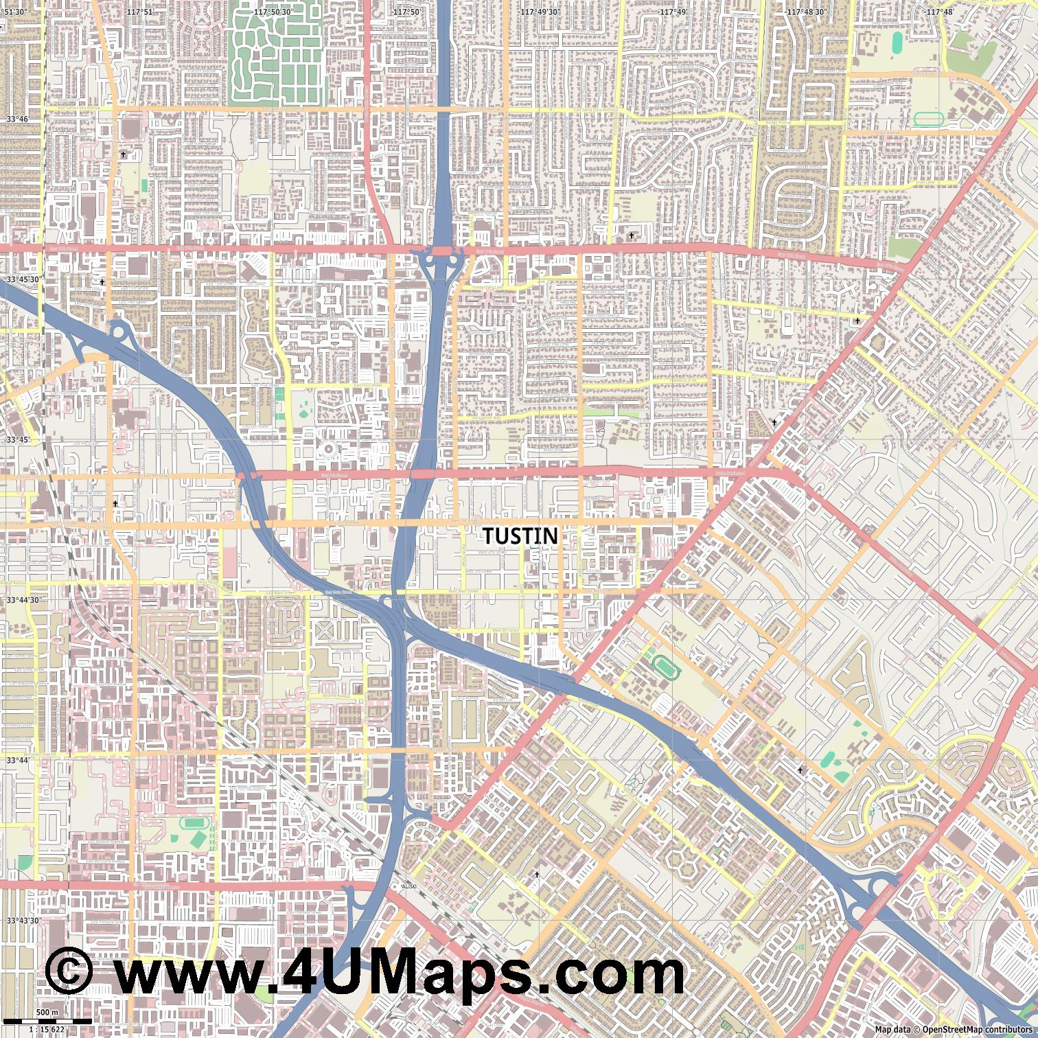 Tustin  jpg ultra high detail preview vector city map