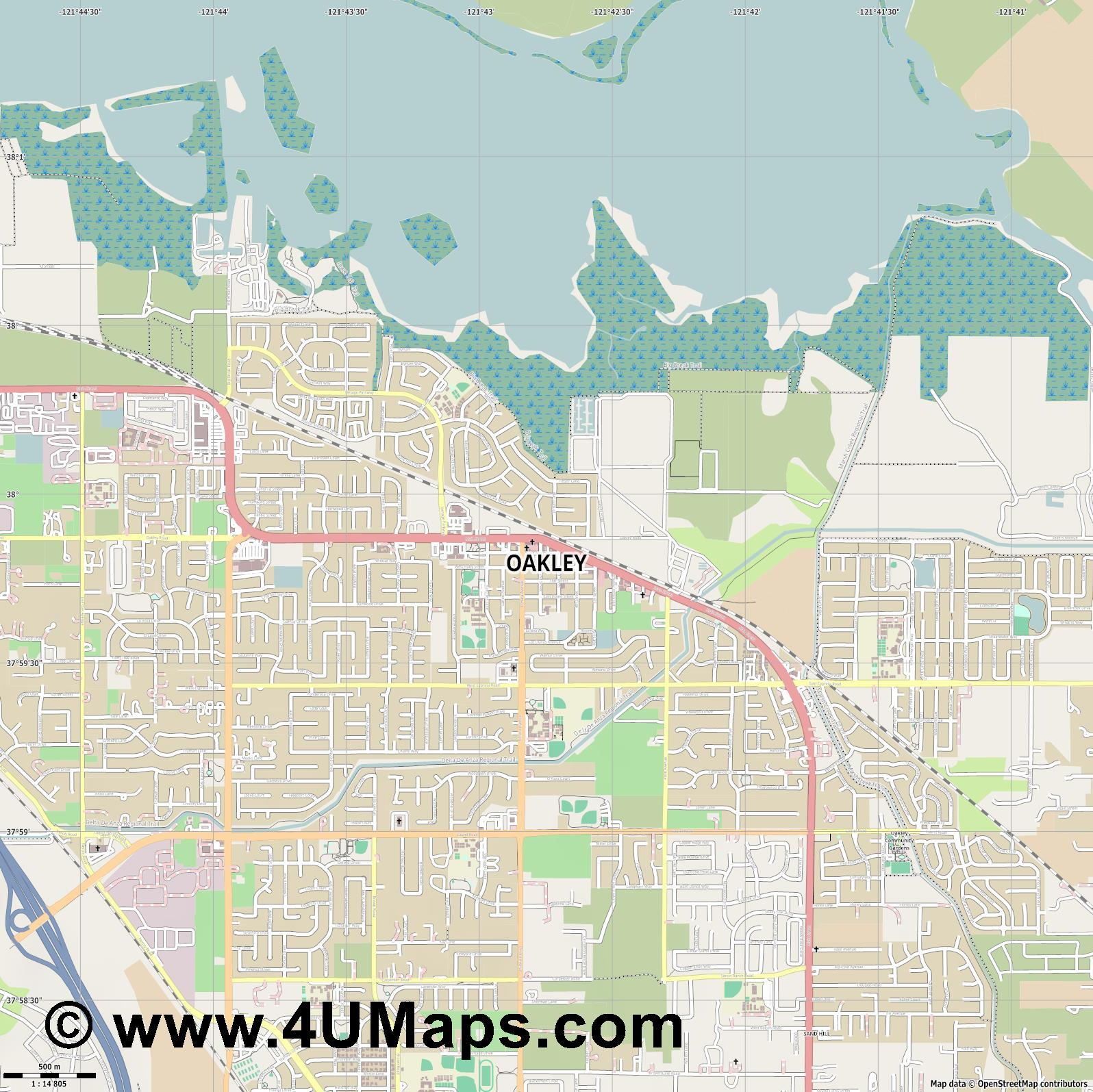 Oakley  jpg ultra high detail preview vector city map