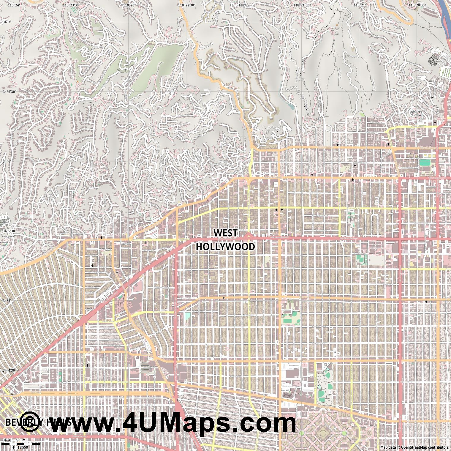 West Hollywood  jpg ultra high detail preview vector city map