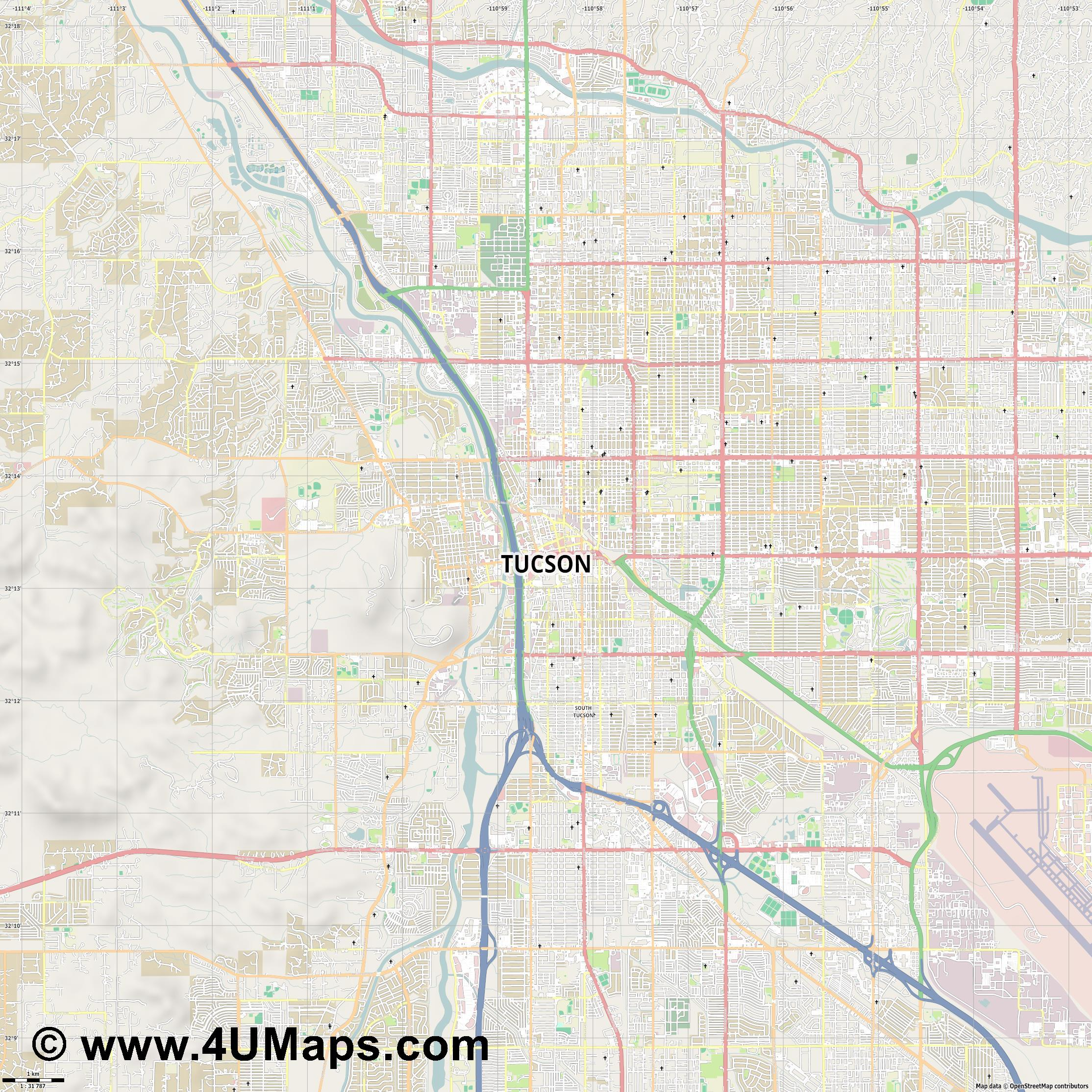 Tucson  jpg high detail, large area preview vector city map