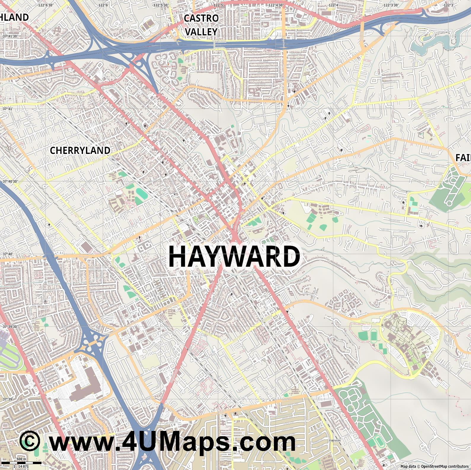 Hayward  jpg ultra high detail preview vector city map