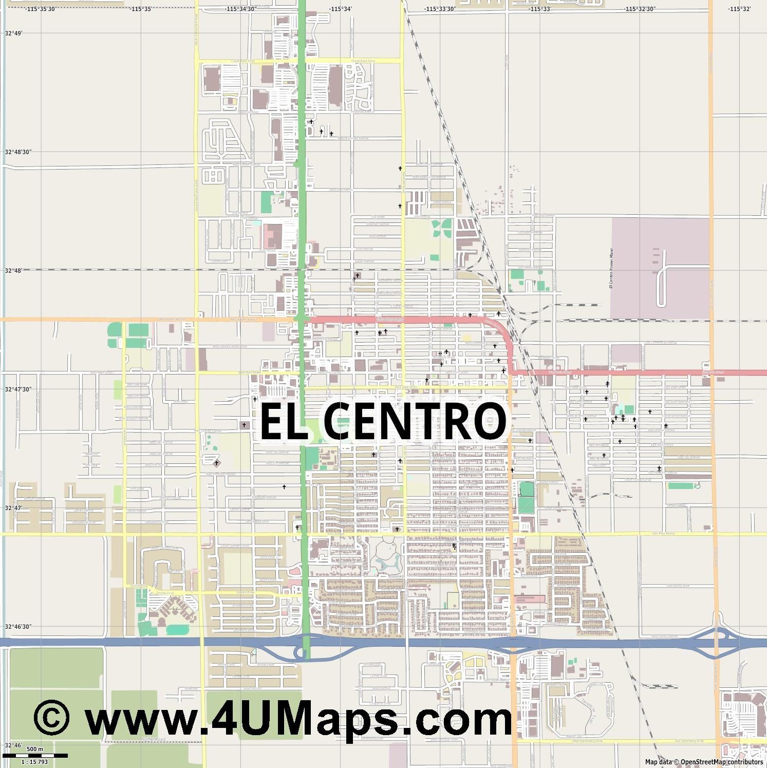 El Centro  jpg ultra high detail preview vector city map