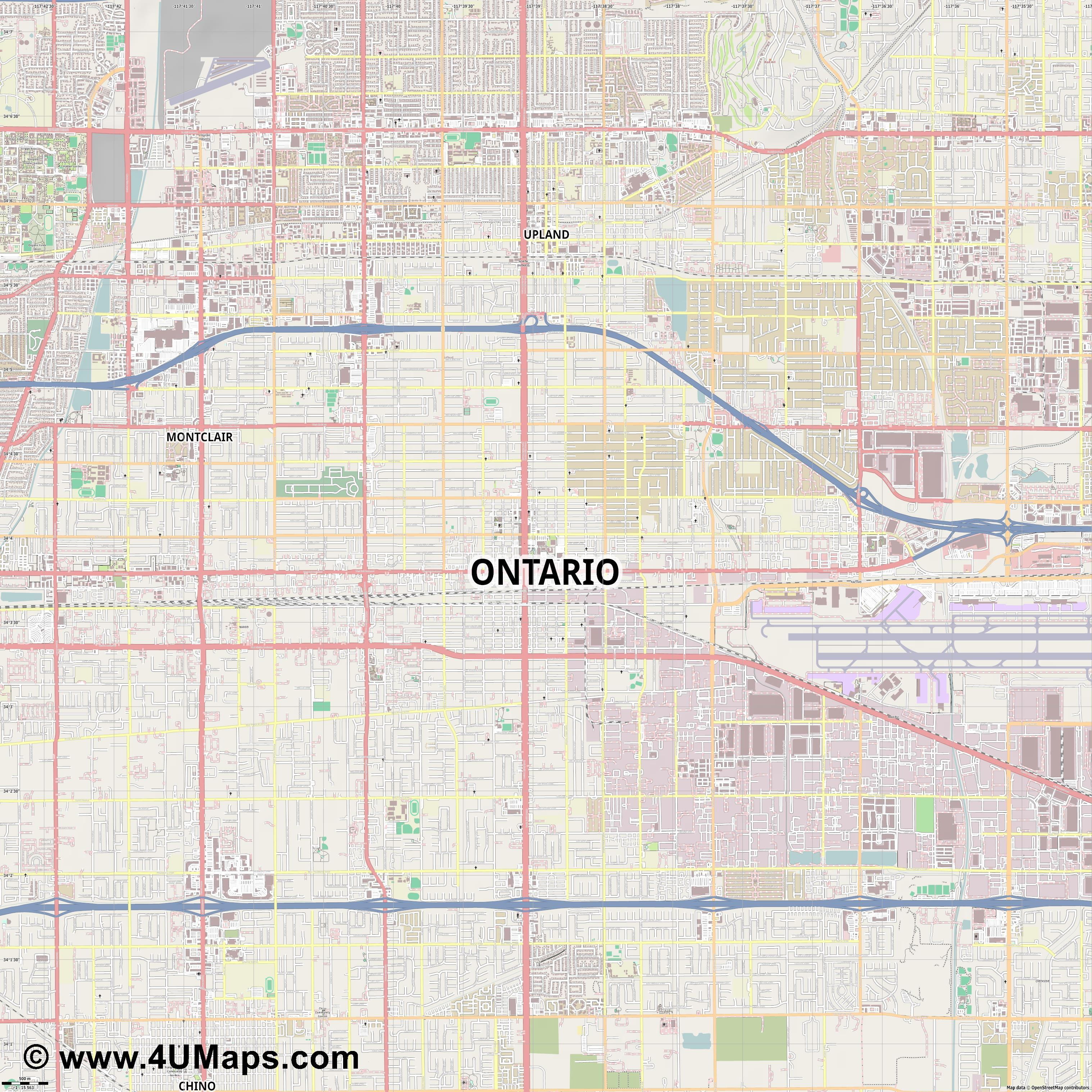 Ontario  jpg ultra high detail preview vector city map