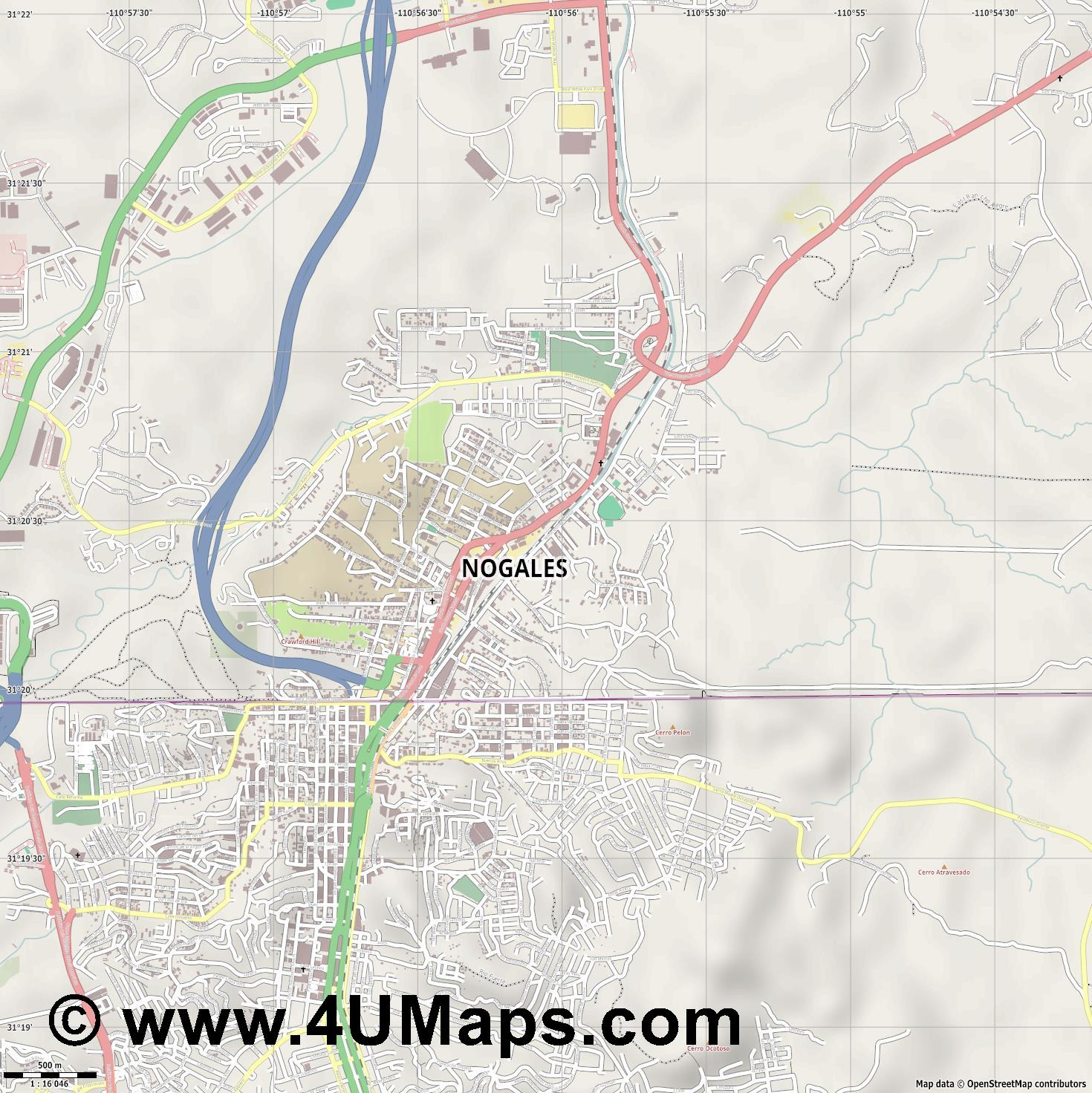 Nogales  jpg ultra high detail preview vector city map