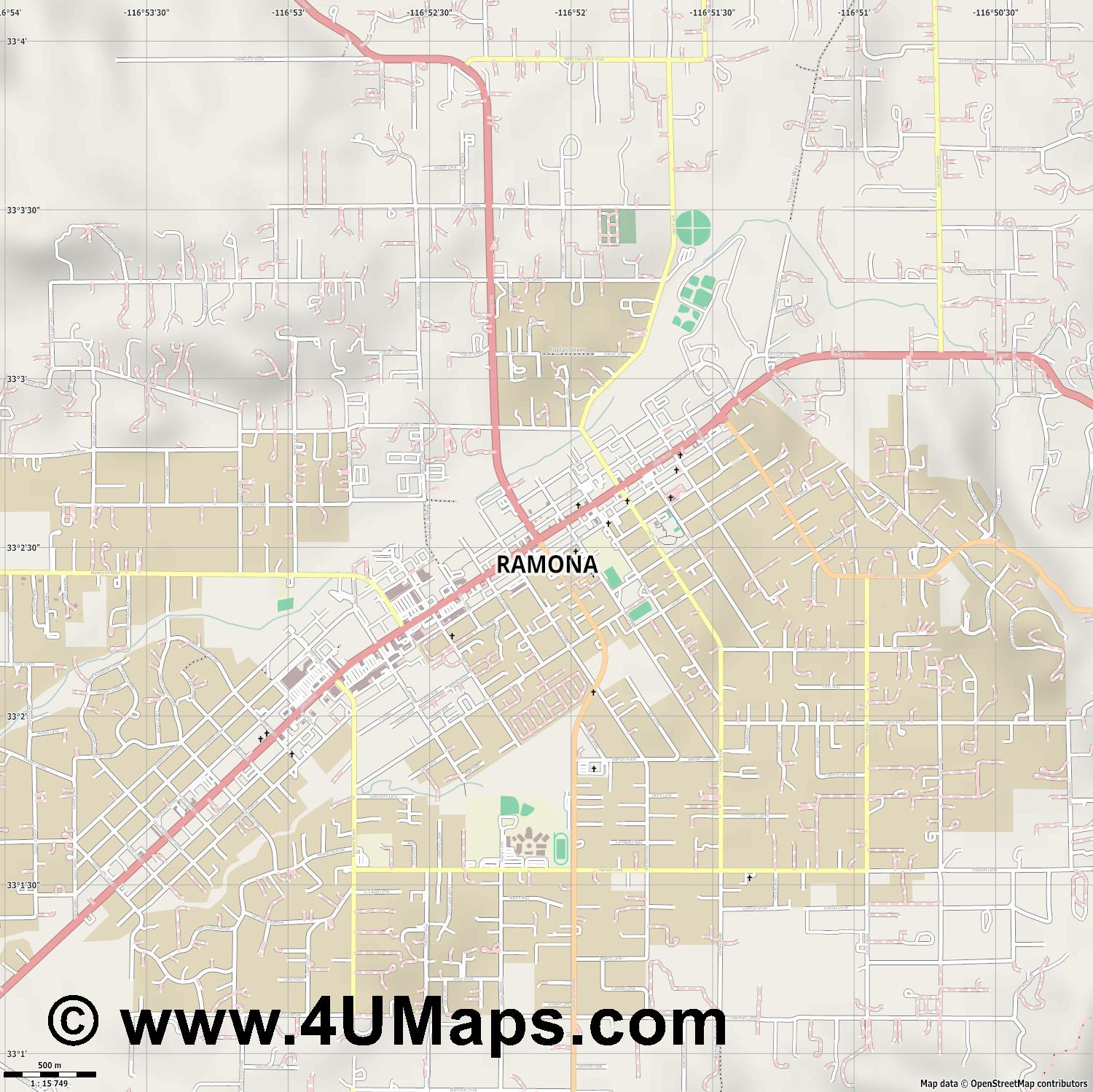 Ramona  jpg ultra high detail preview vector city map