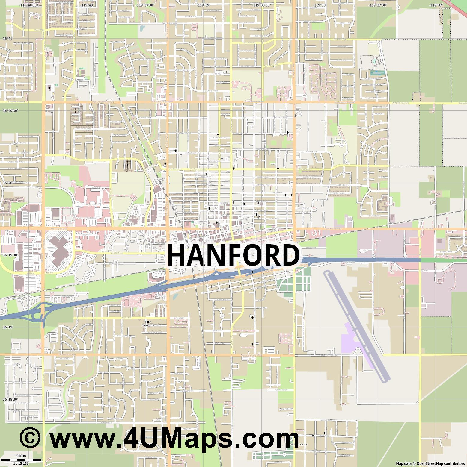 Hanford  jpg ultra high detail preview vector city map