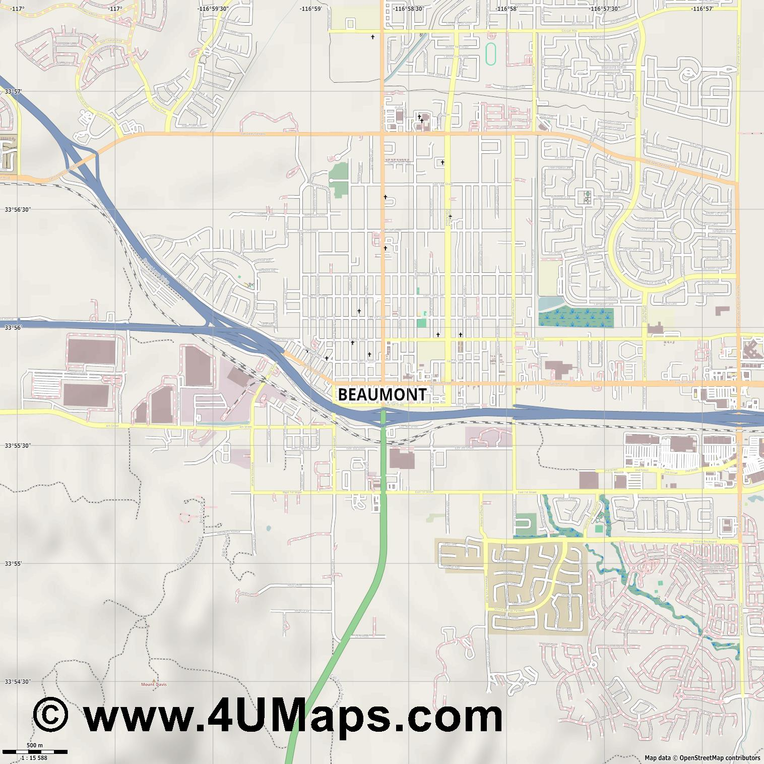 Beaumont  jpg ultra high detail preview vector city map