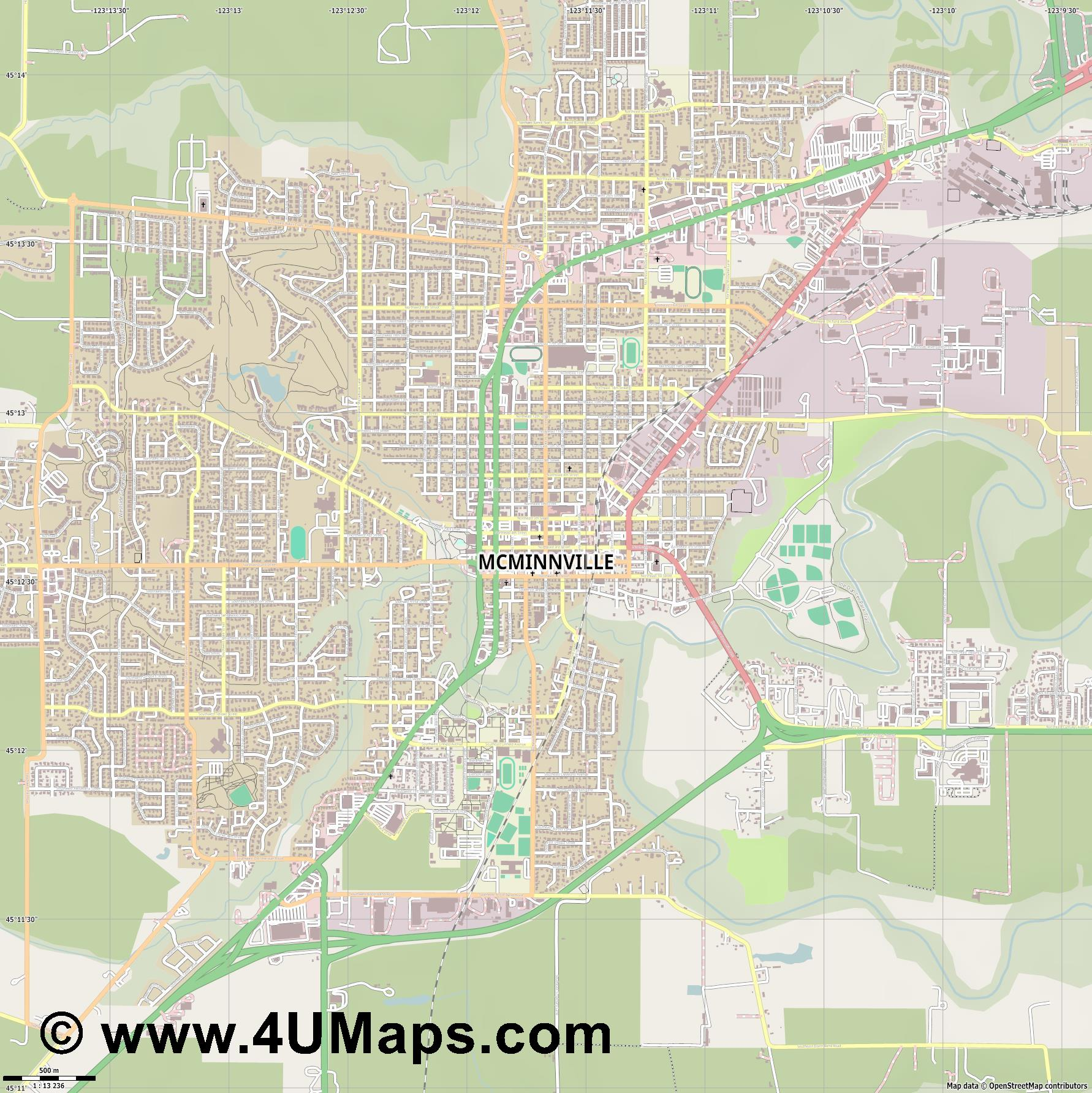 McMinnville  jpg ultra high detail preview vector city map