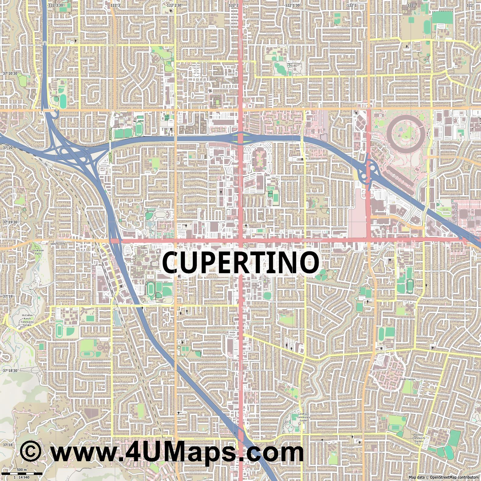 Cupertino  jpg ultra high detail preview vector city map