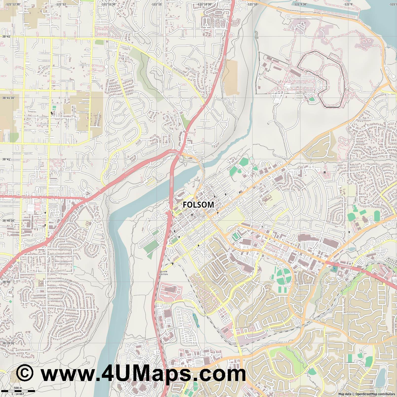 Folsom  jpg ultra high detail preview vector city map