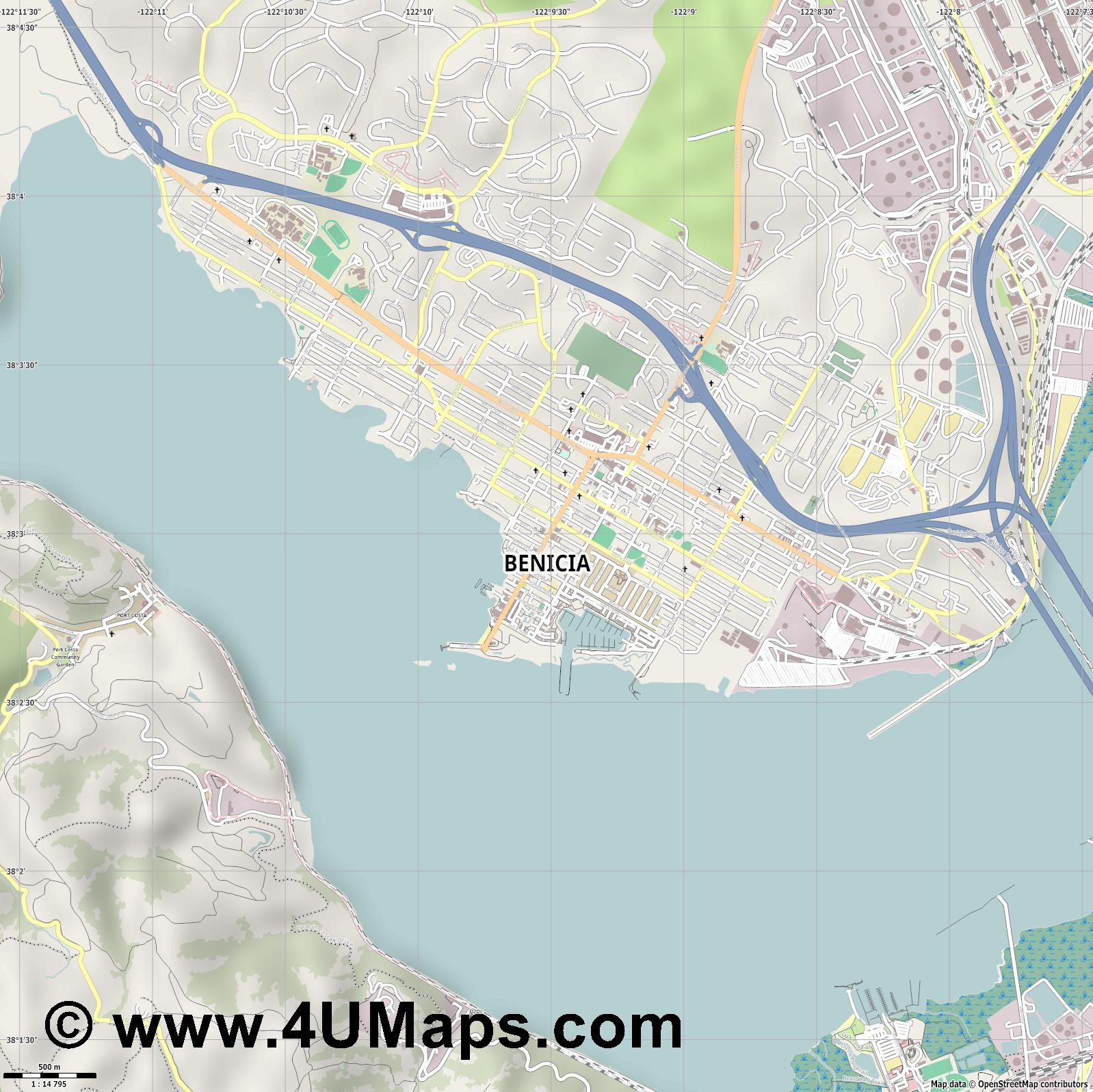 Benicia  jpg ultra high detail preview vector city map