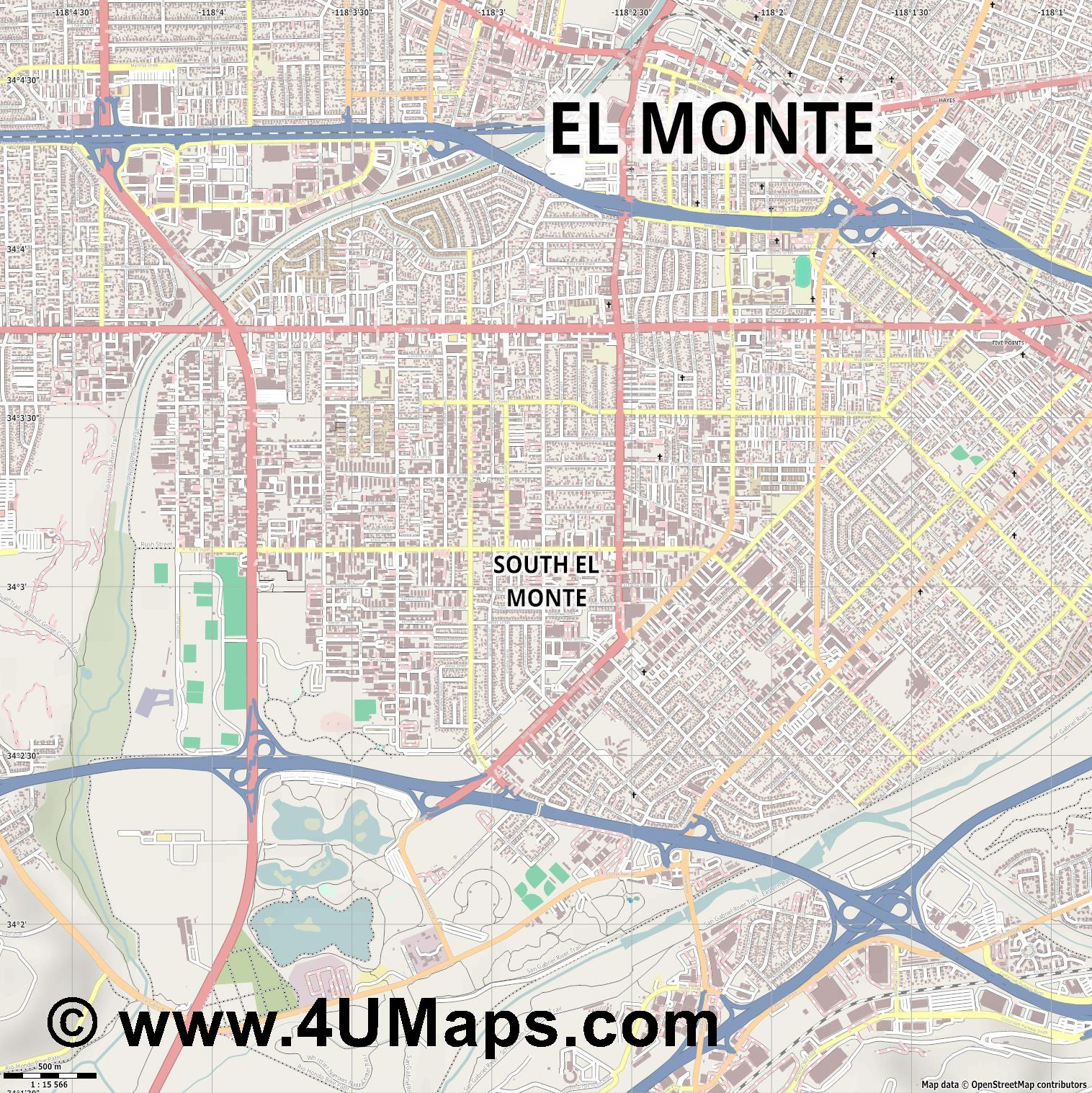South El Monte  jpg ultra high detail preview vector city map