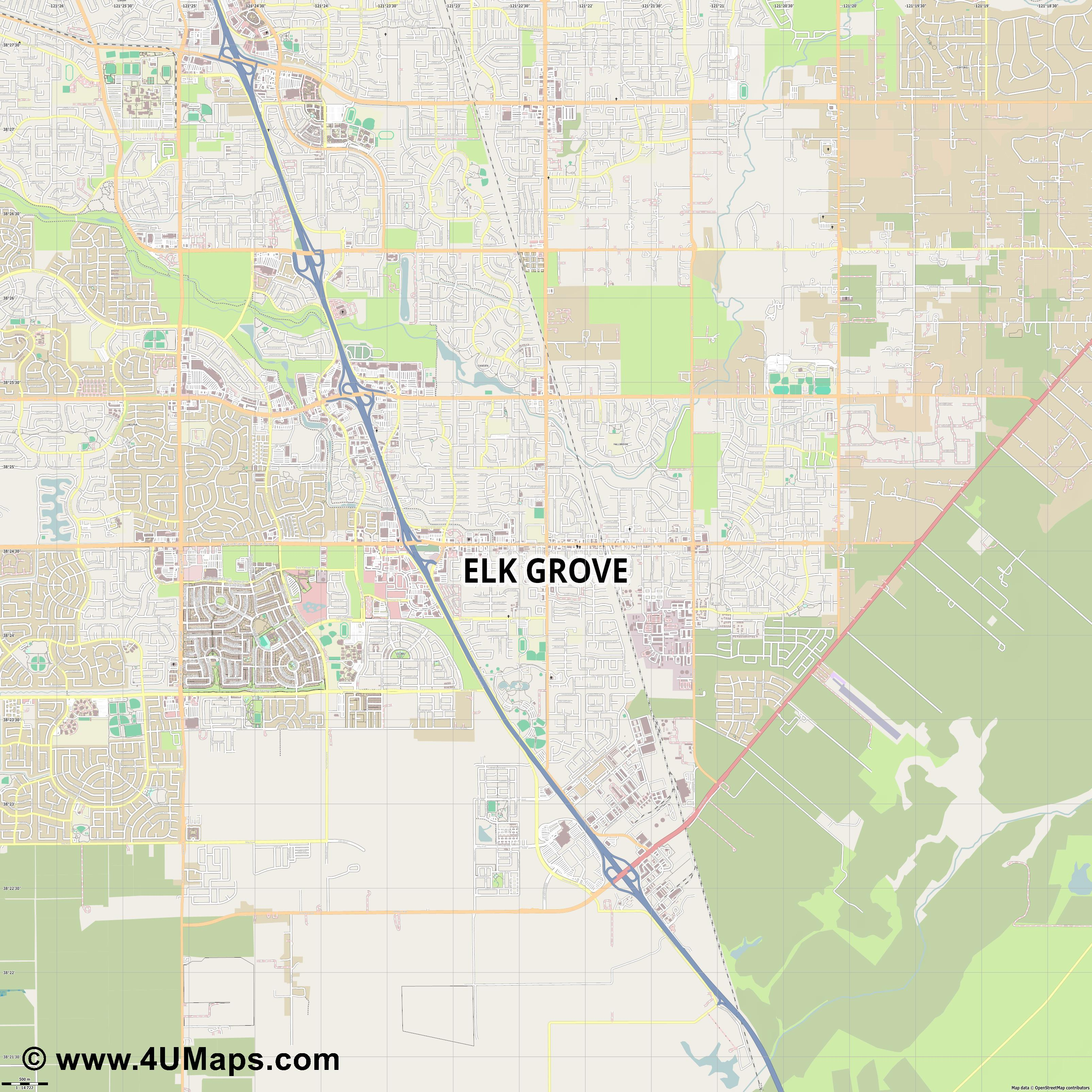 Elk Grove  jpg ultra high detail preview vector city map