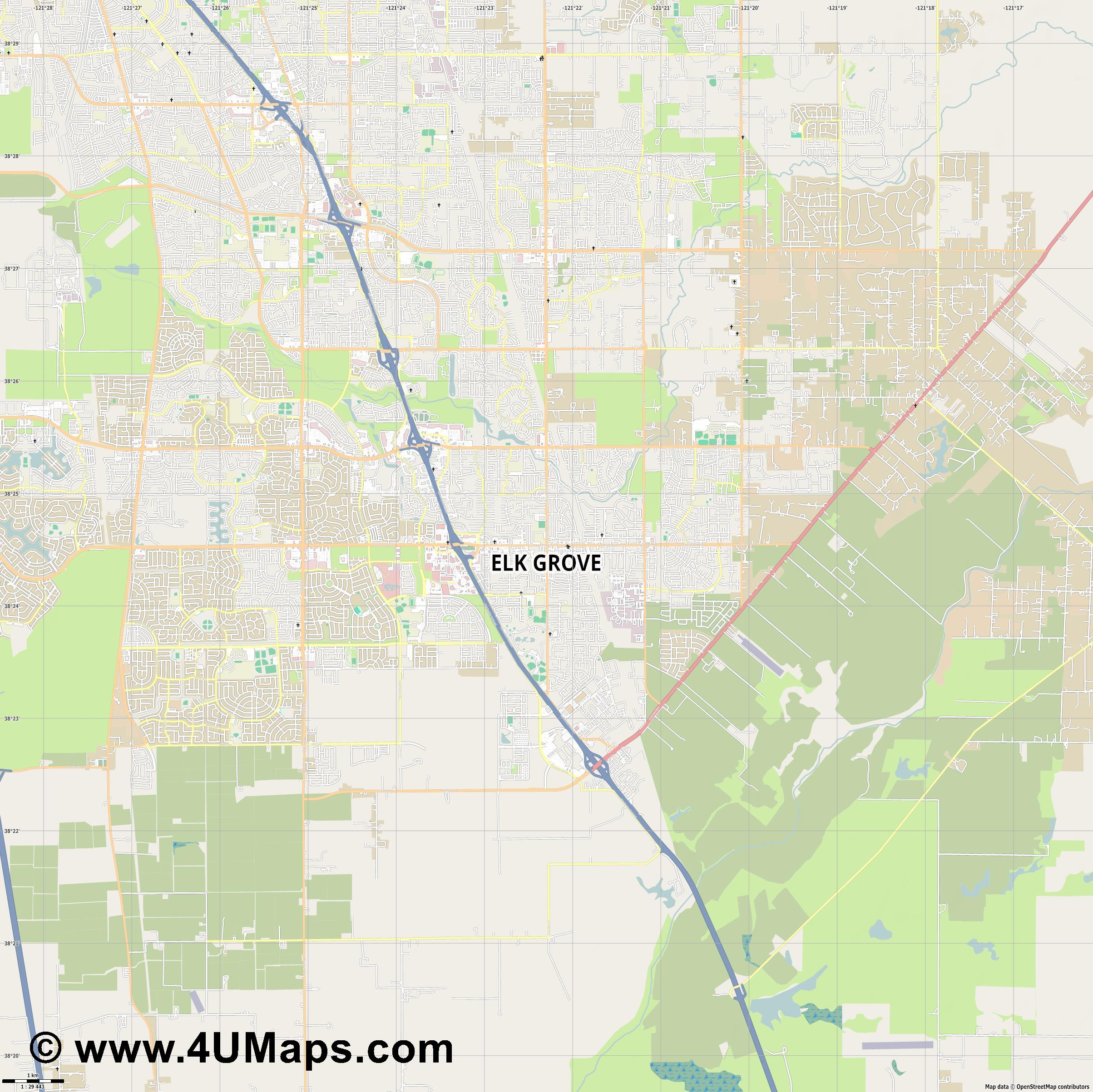 Elk Grove  jpg high detail, large area preview vector city map
