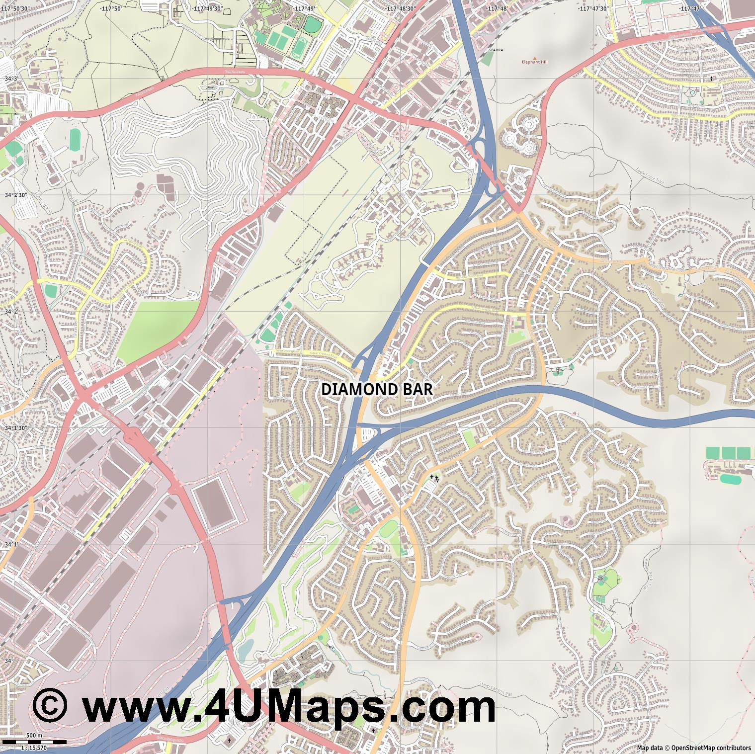 Diamond Bar  jpg ultra high detail preview vector city map