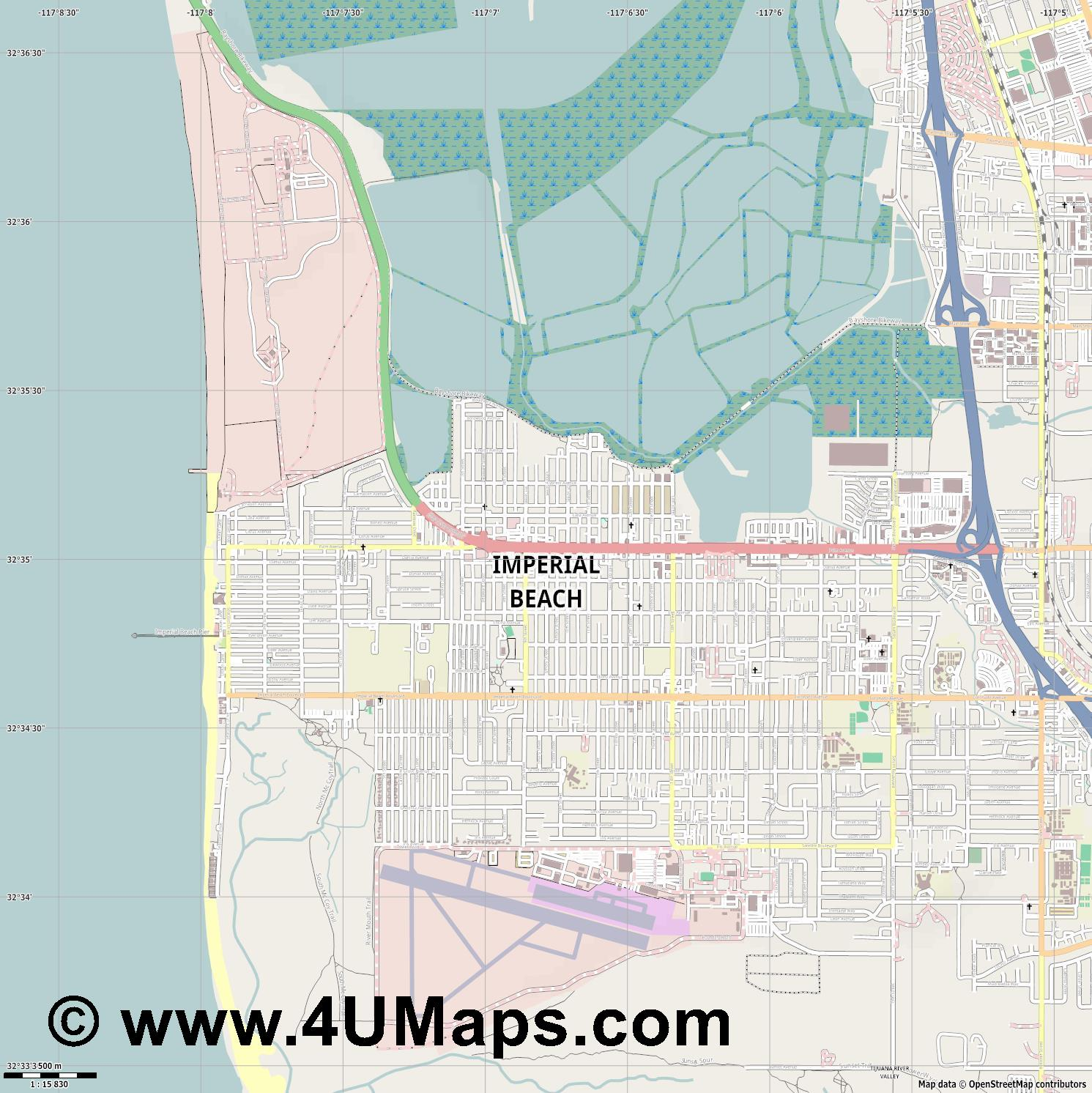 Imperial Beach  jpg ultra high detail preview vector city map