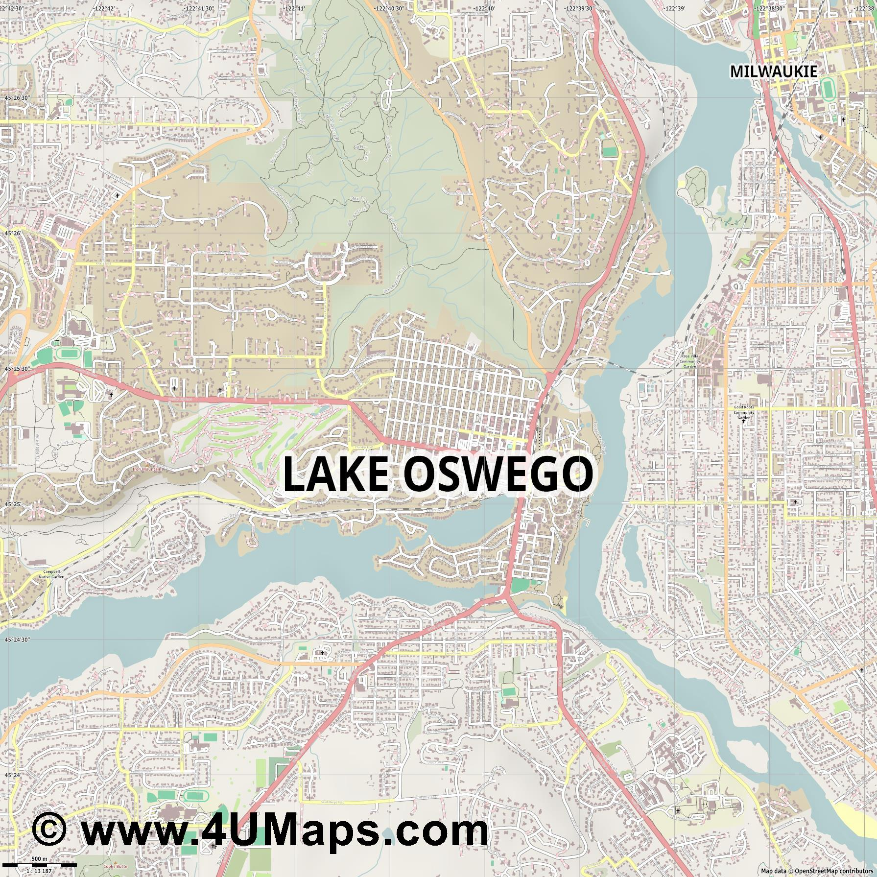 Lake Oswego  jpg ultra high detail preview vector city map