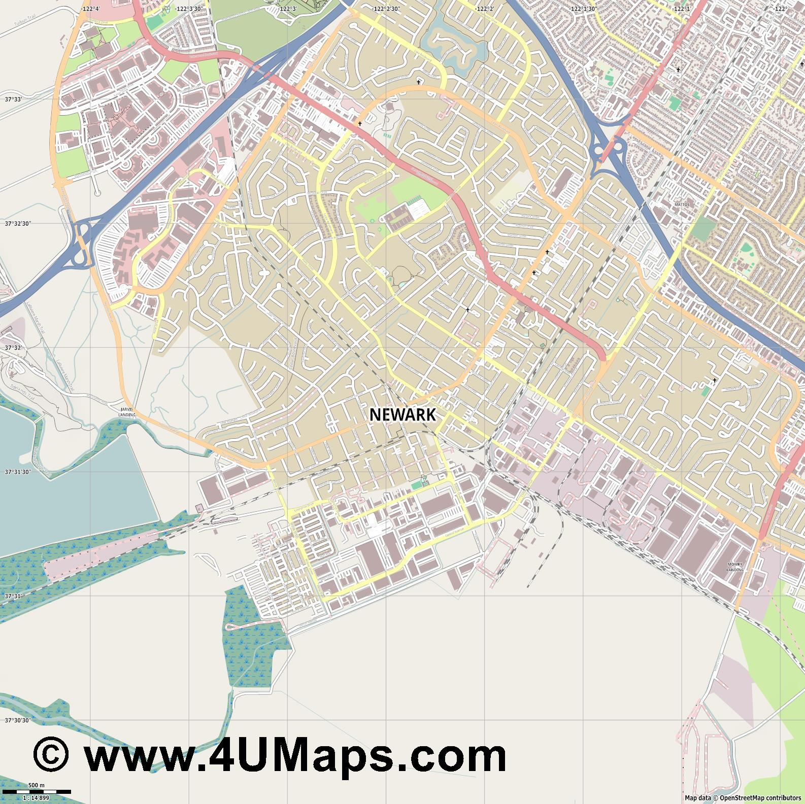 Newark  jpg ultra high detail preview vector city map