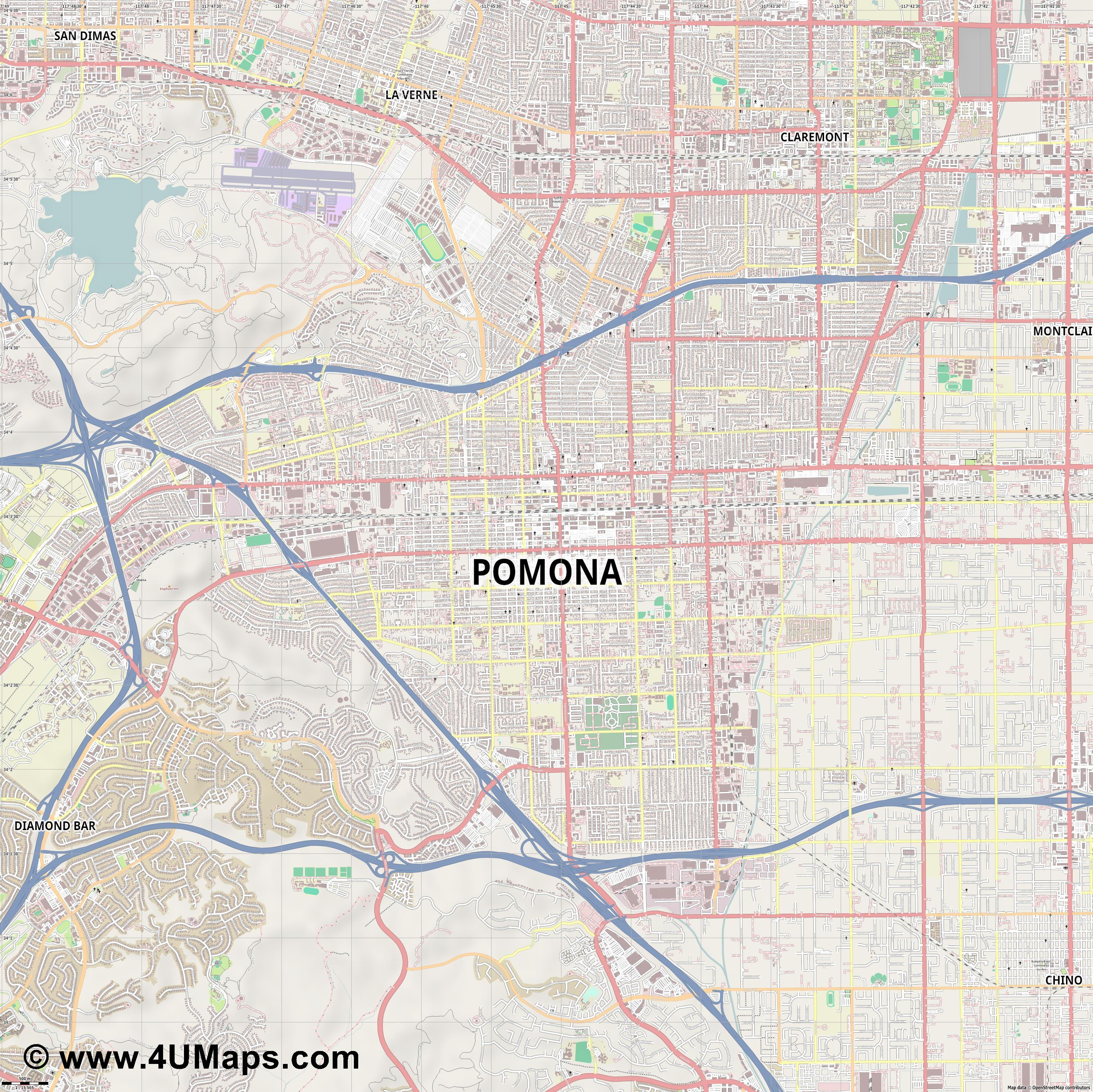 Pomona  jpg ultra high detail preview vector city map