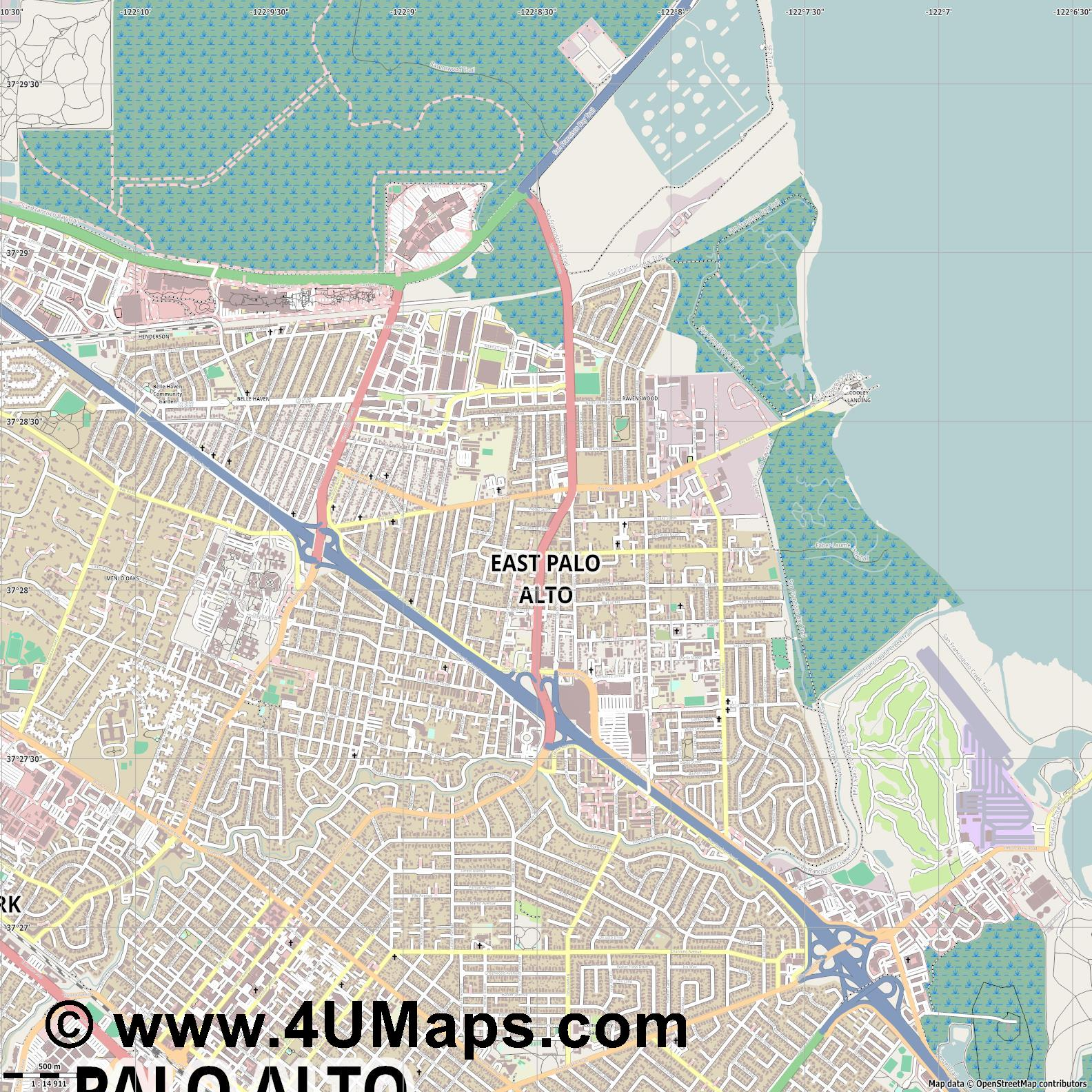 East Palo Alto  jpg ultra high detail preview vector city map