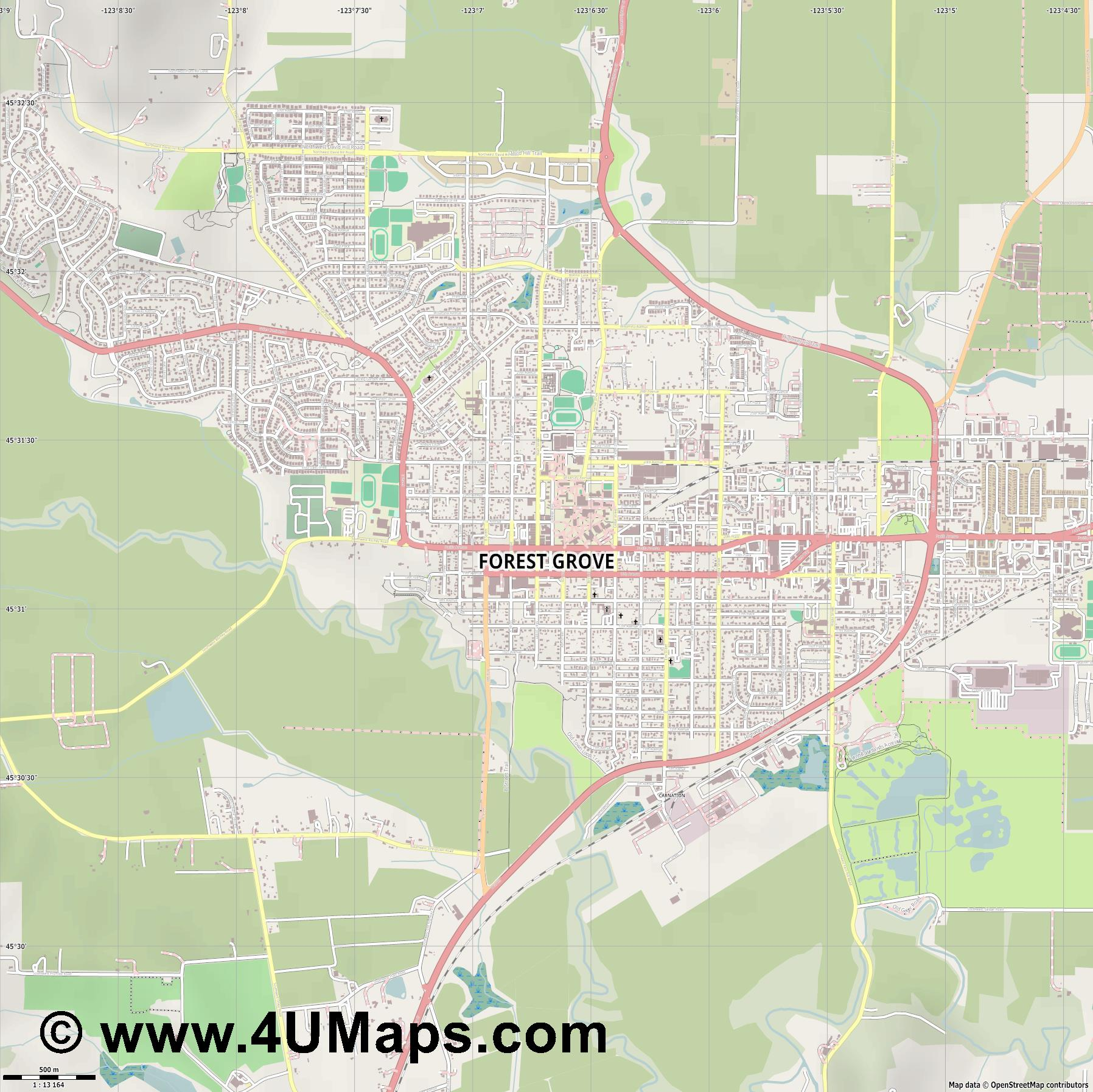 Forest Grove  jpg ultra high detail preview vector city map