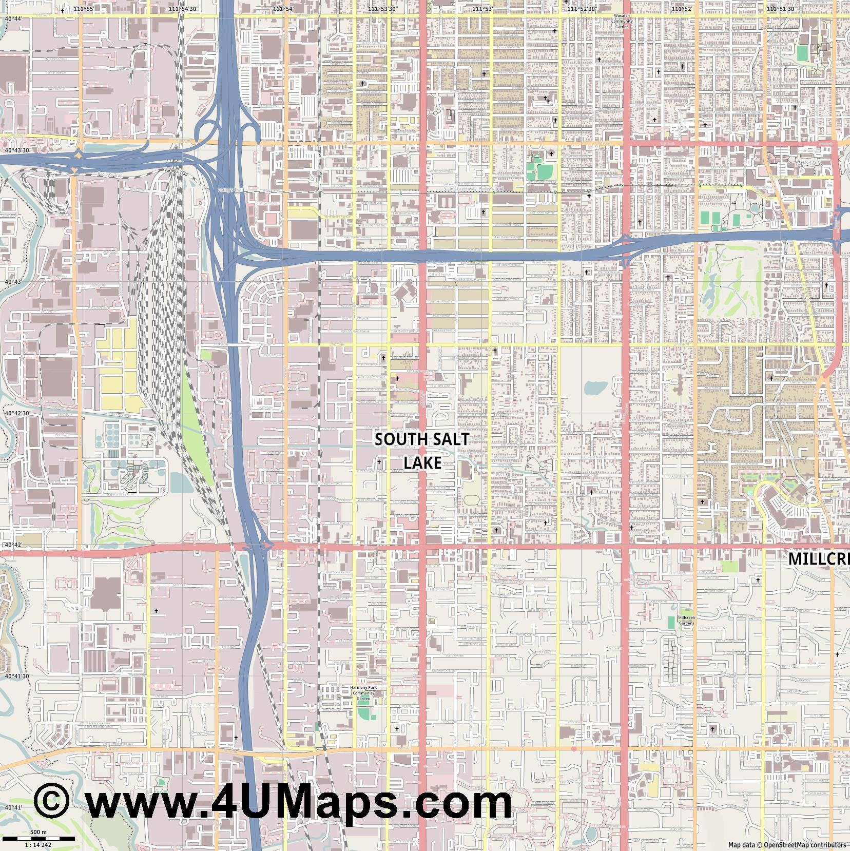 South Salt Lake  jpg ultra high detail preview vector city map