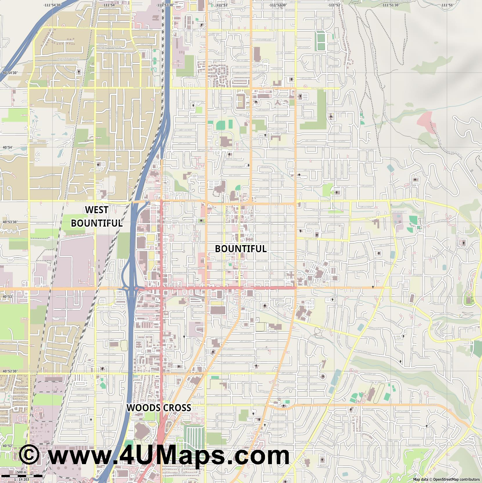 Bountiful  jpg ultra high detail preview vector city map