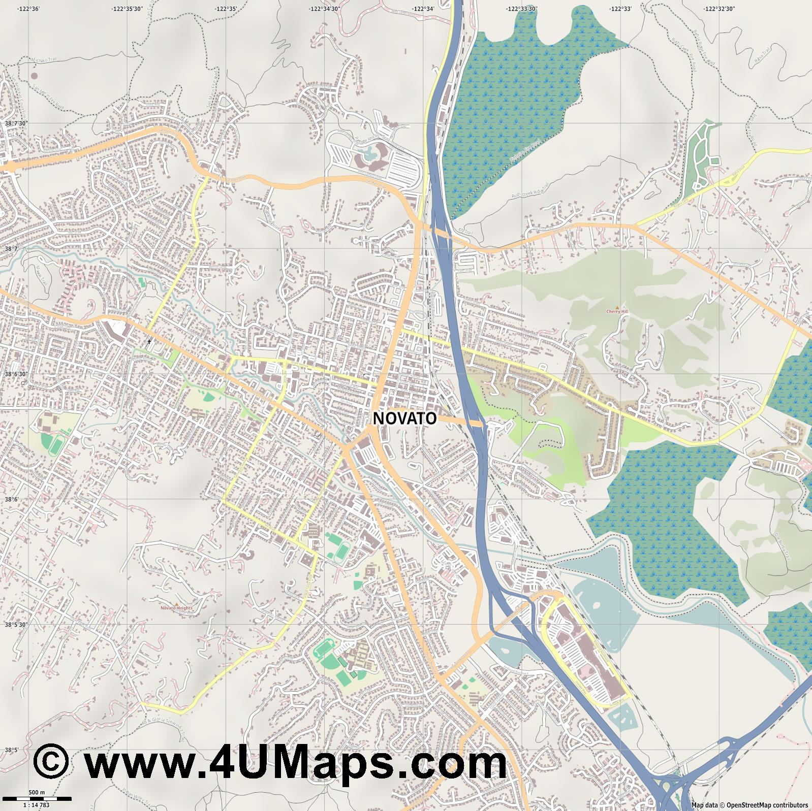 Novato  jpg ultra high detail preview vector city map