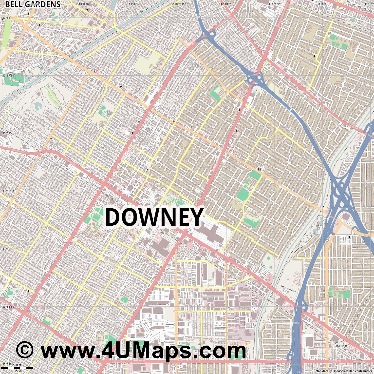 Downey  jpg ultra high detail preview vector city map