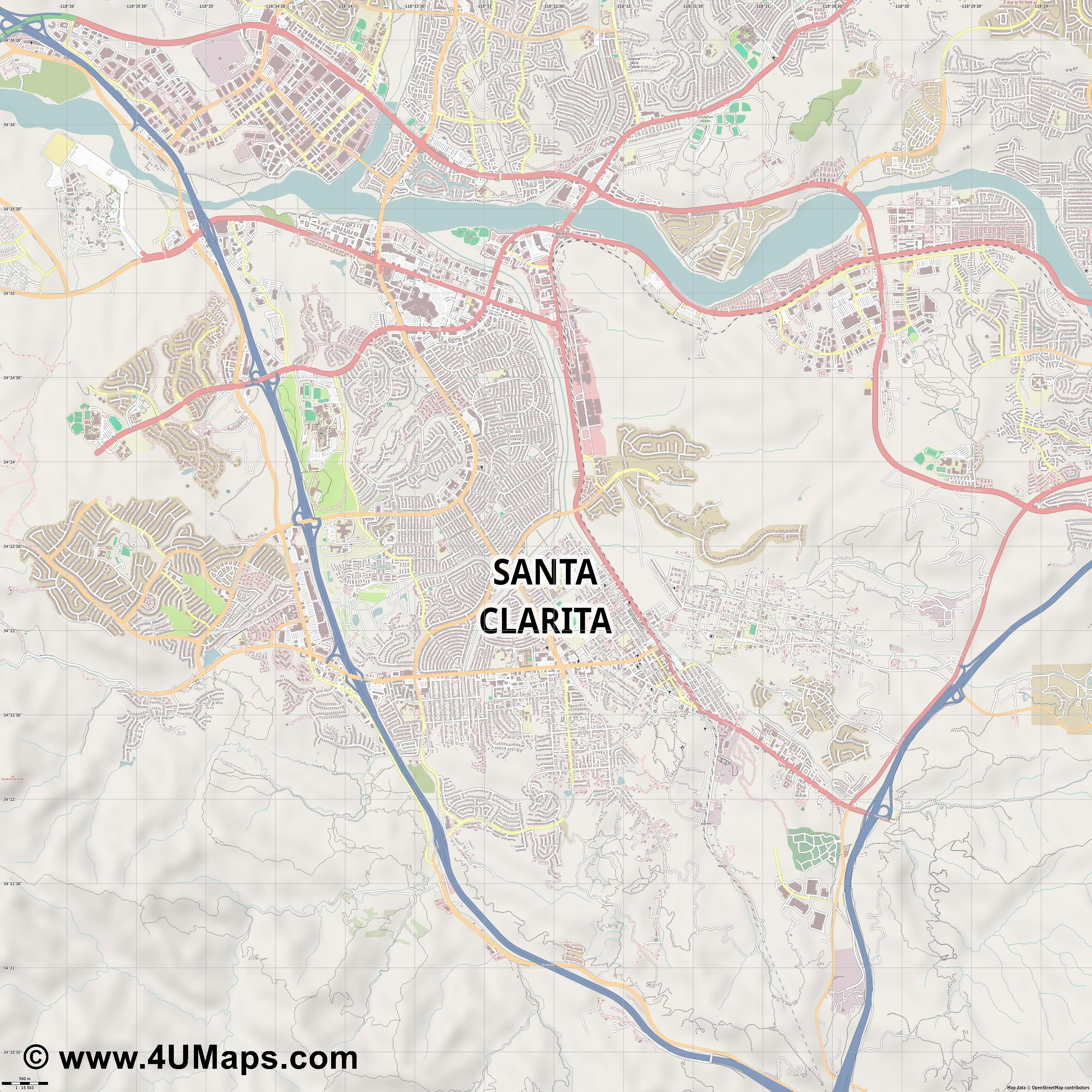 Santa Clarita  jpg ultra high detail preview vector city map