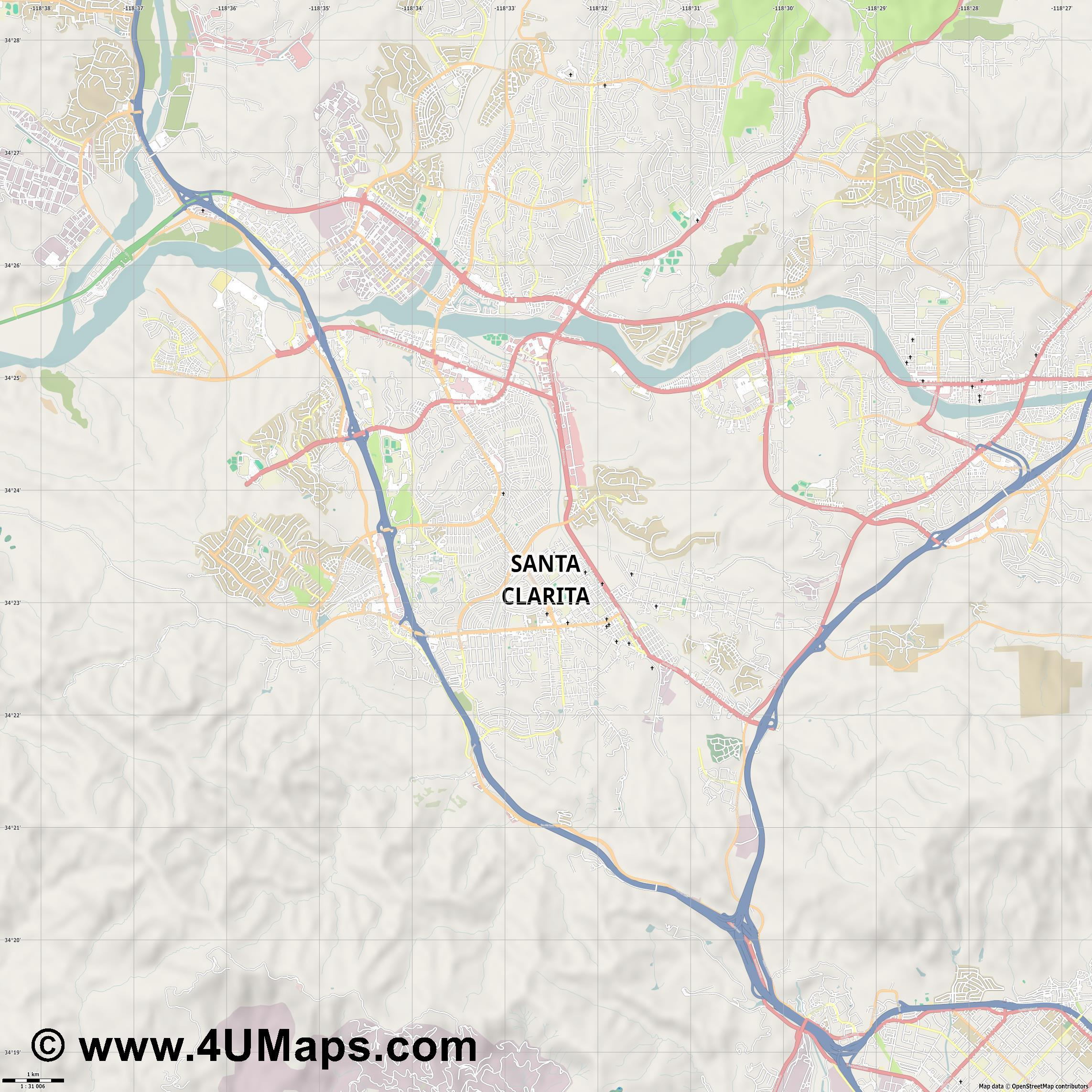 Santa Clarita  jpg high detail, large area preview vector city map