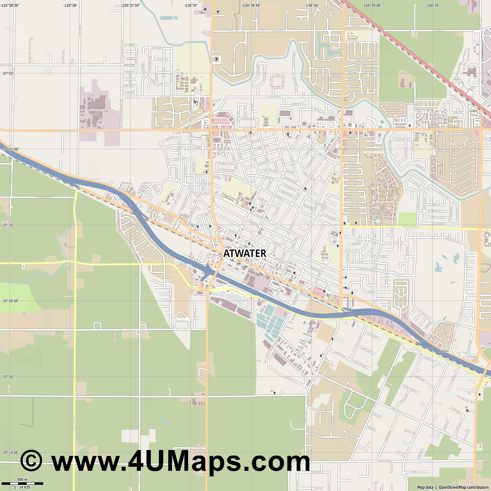 Atwater  jpg ultra high detail preview vector city map