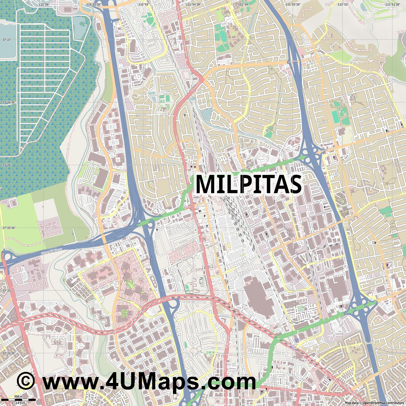Milpitas  jpg ultra high detail preview vector city map