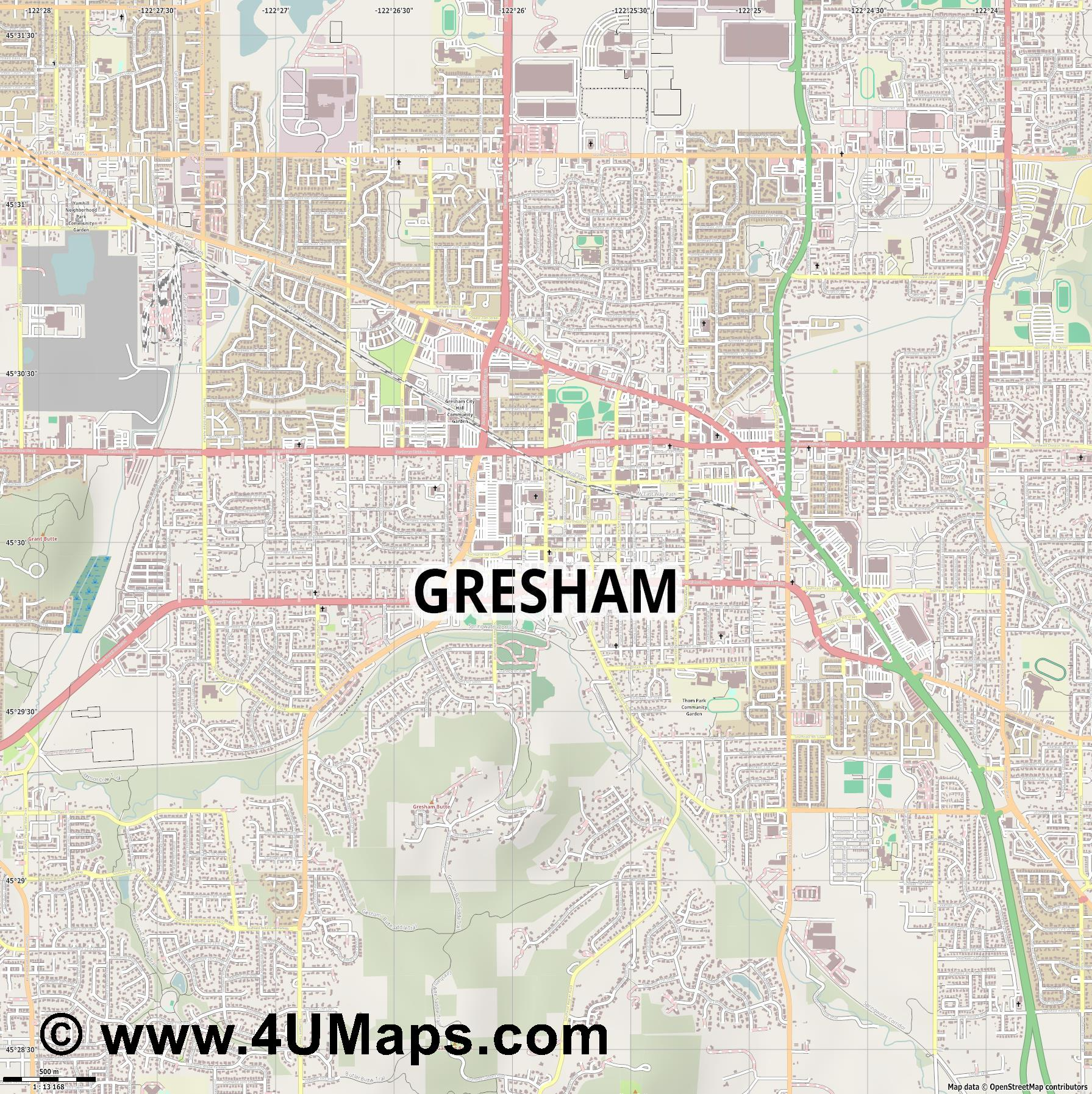 Gresham  jpg ultra high detail preview vector city map