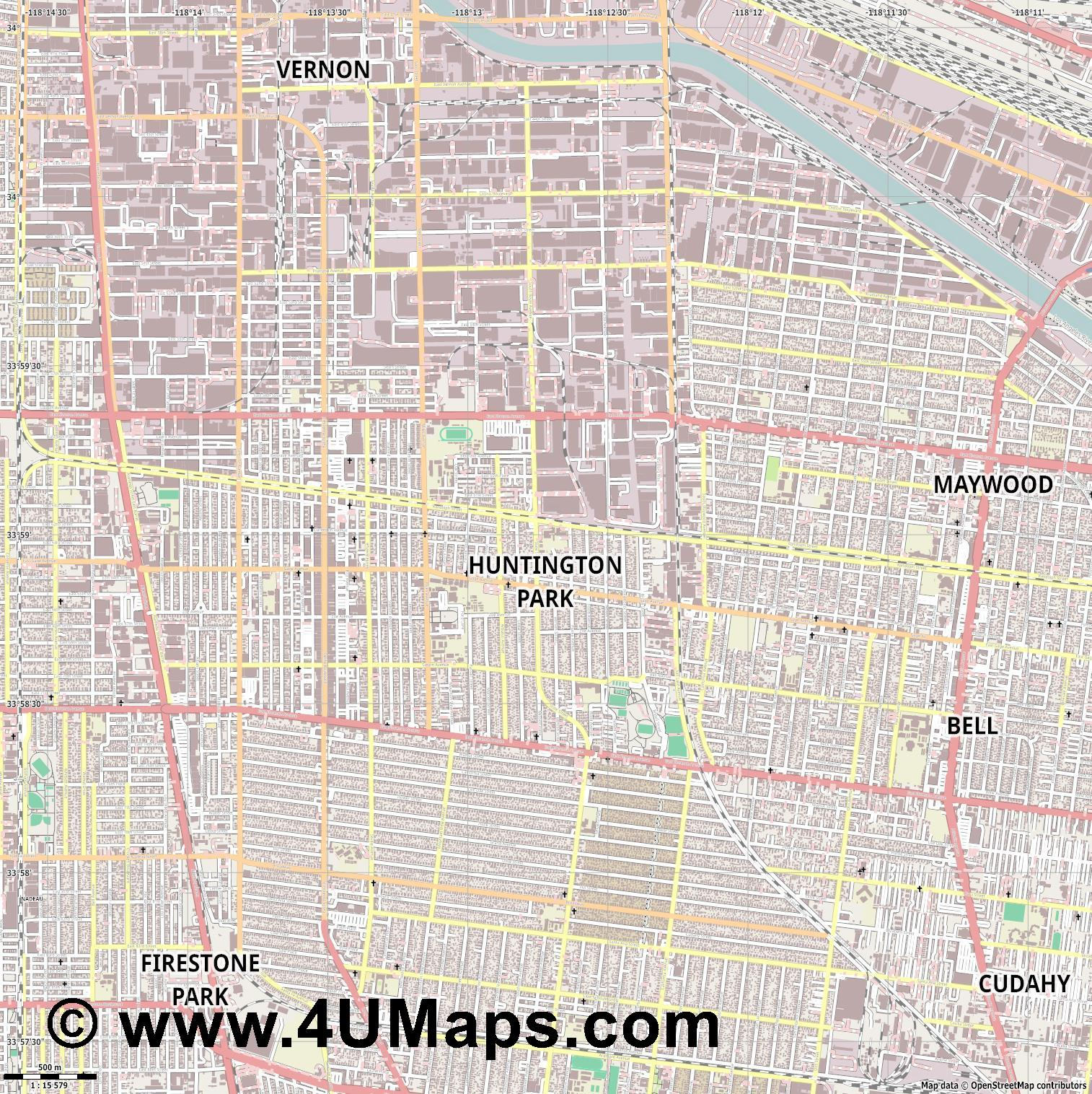 Huntington Park  jpg ultra high detail preview vector city map