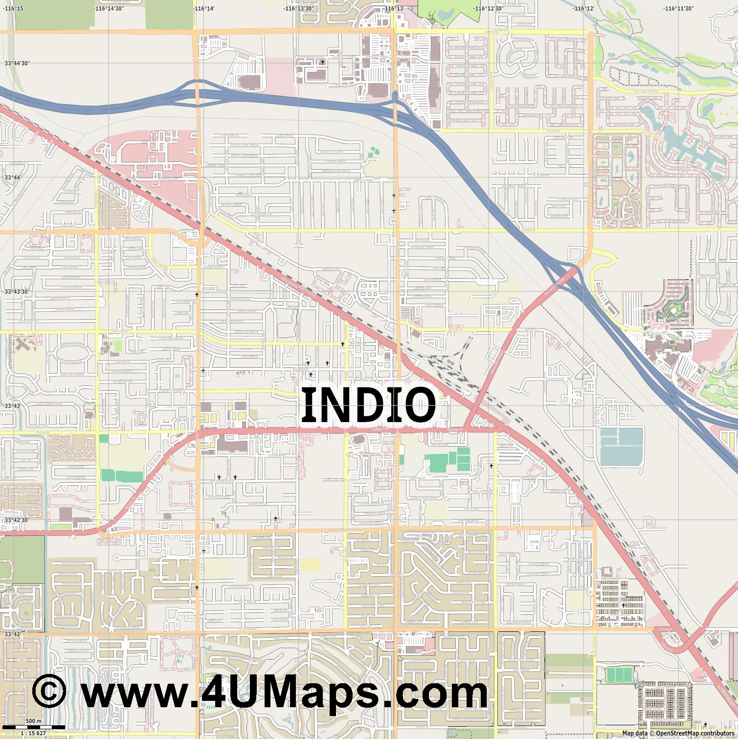 Indio  jpg ultra high detail preview vector city map
