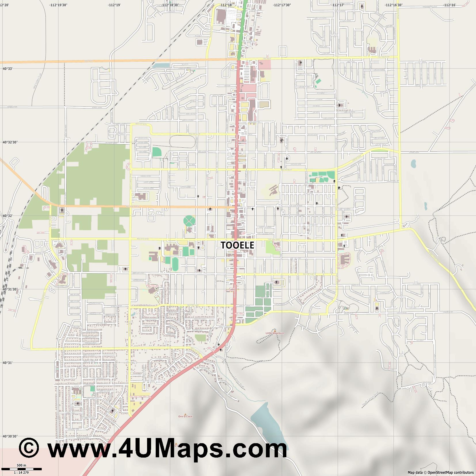 Tooele  jpg ultra high detail preview vector city map