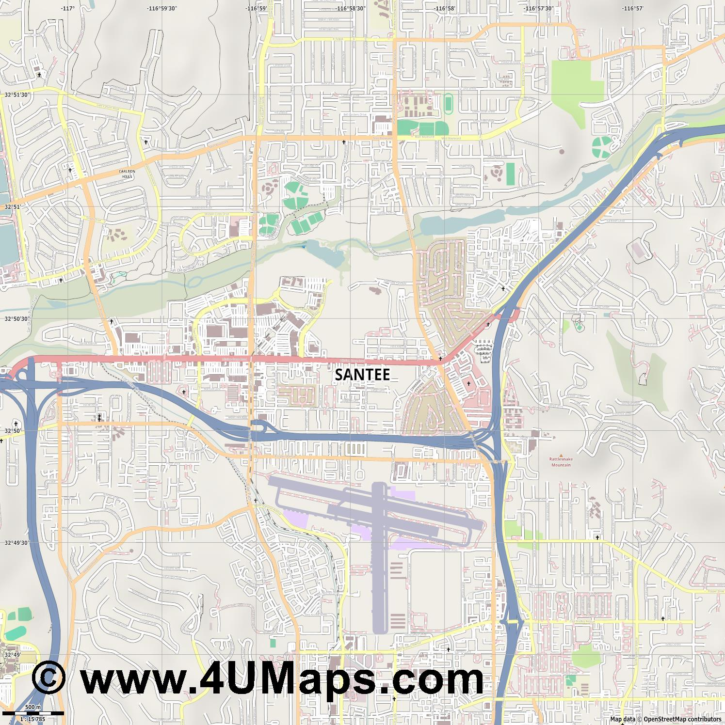 Santee  jpg ultra high detail preview vector city map