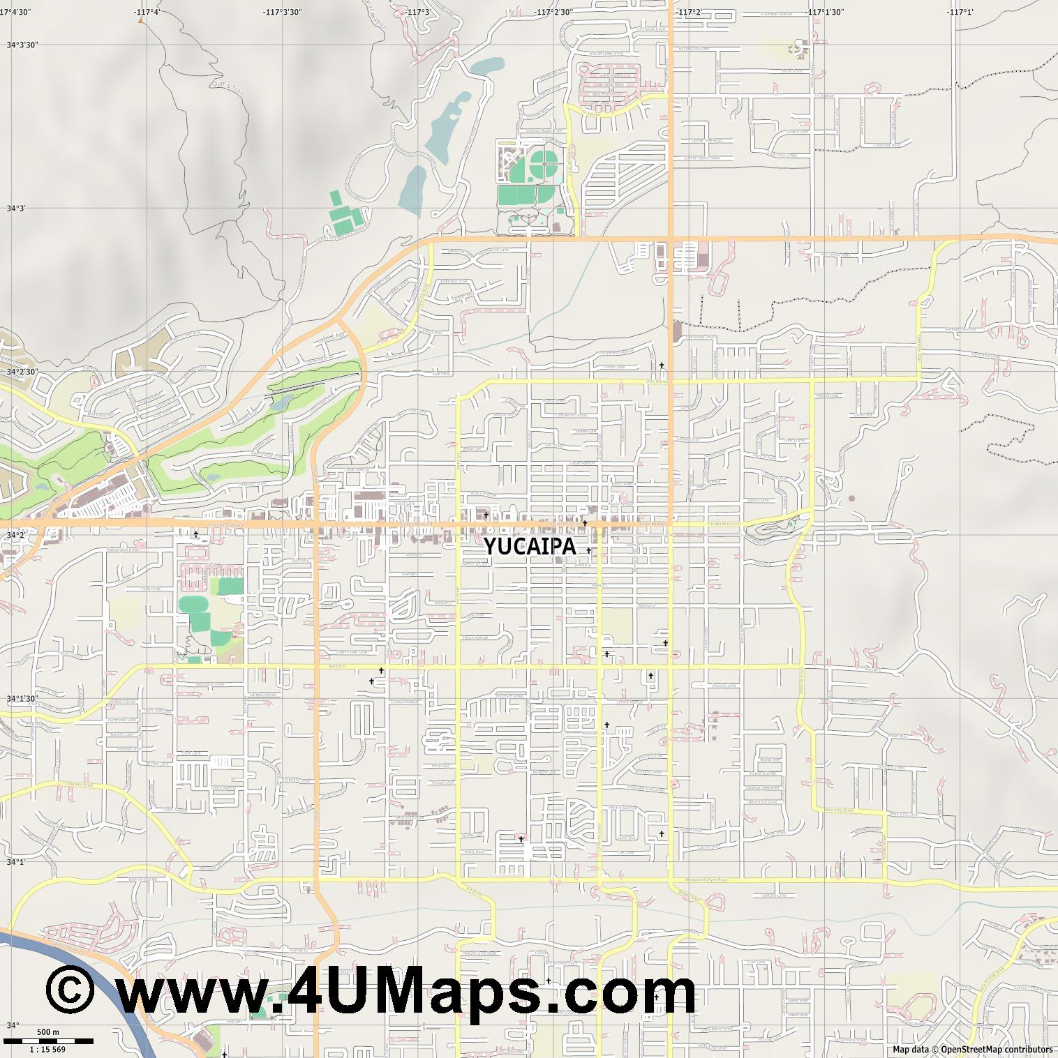 Yucaipa  jpg ultra high detail preview vector city map