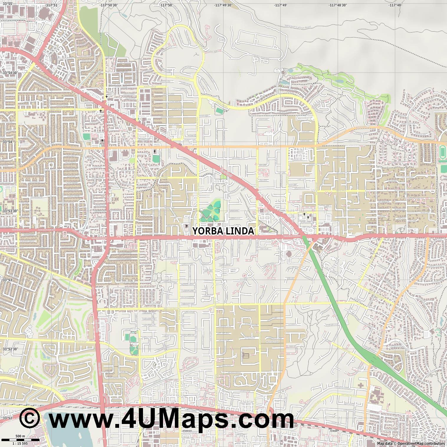 Yorba Linda  jpg ultra high detail preview vector city map