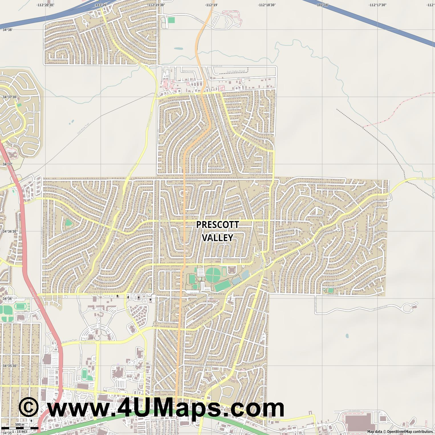 Prescott Valley  jpg ultra high detail preview vector city map