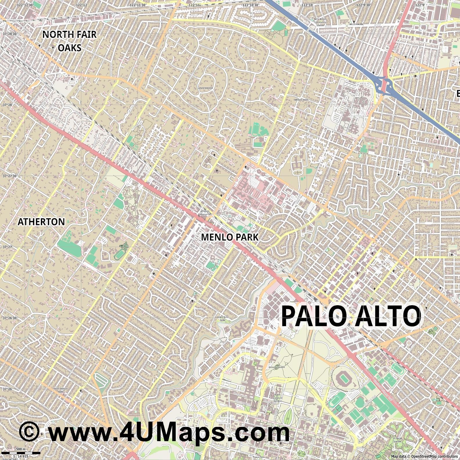Menlo Park  jpg ultra high detail preview vector city map