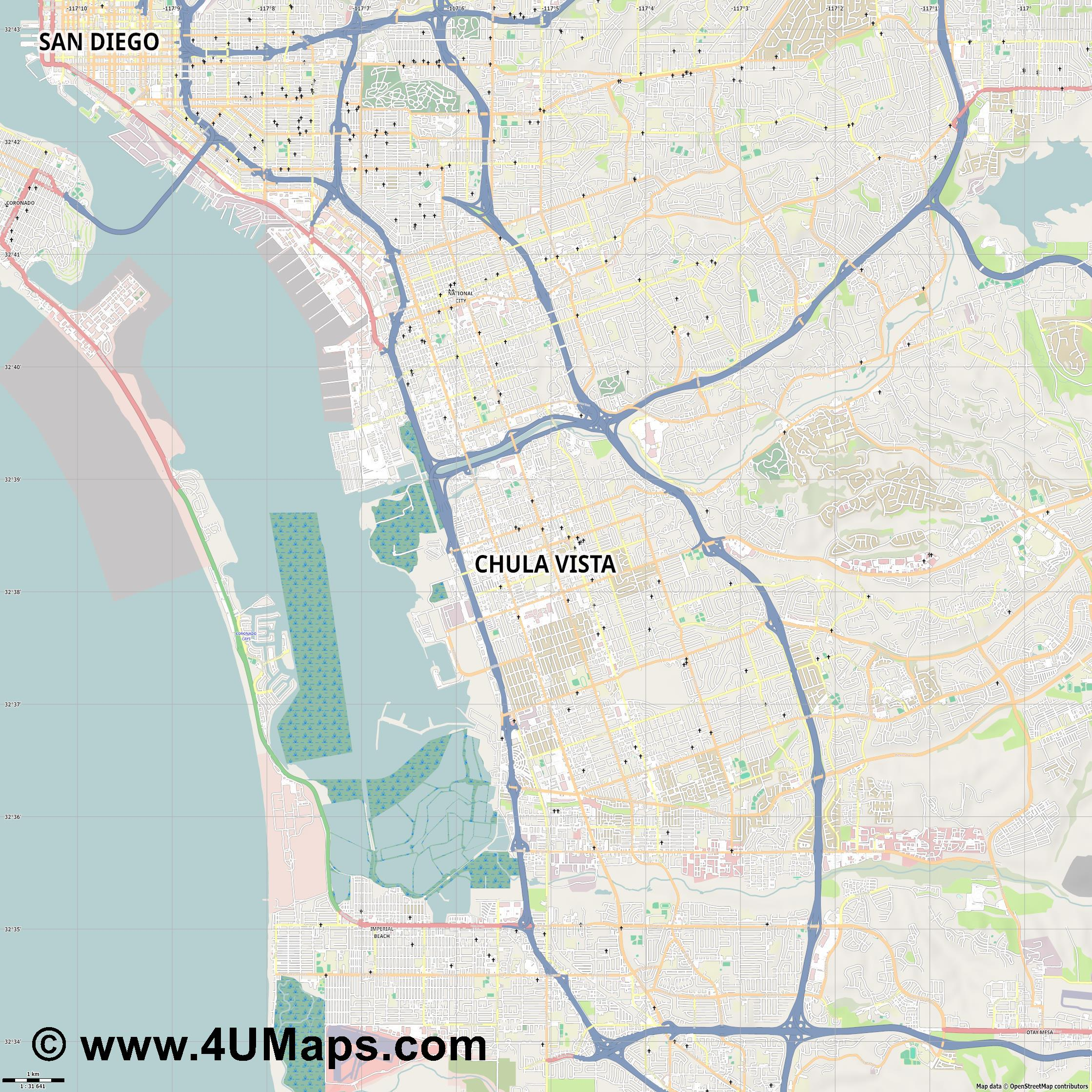 Chula Vista  jpg high detail, large area preview vector city map