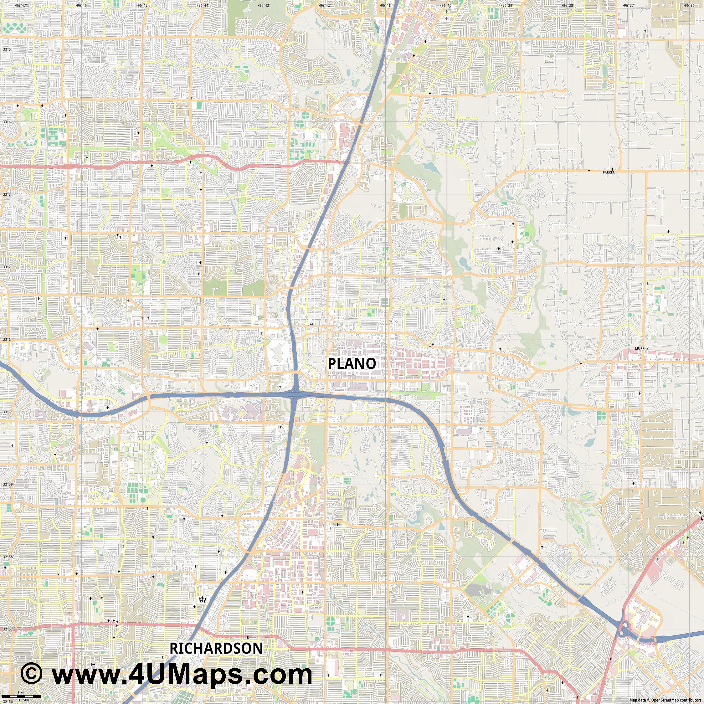 Plano  jpg high detail, large area preview vector city map