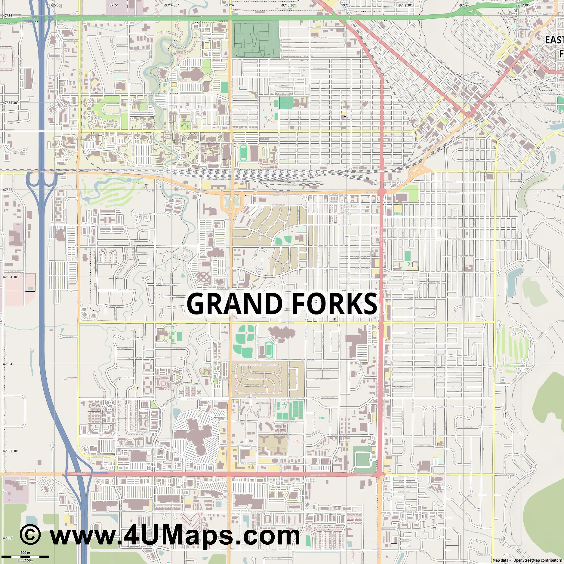 Grand Forks  jpg ultra high detail preview vector city map