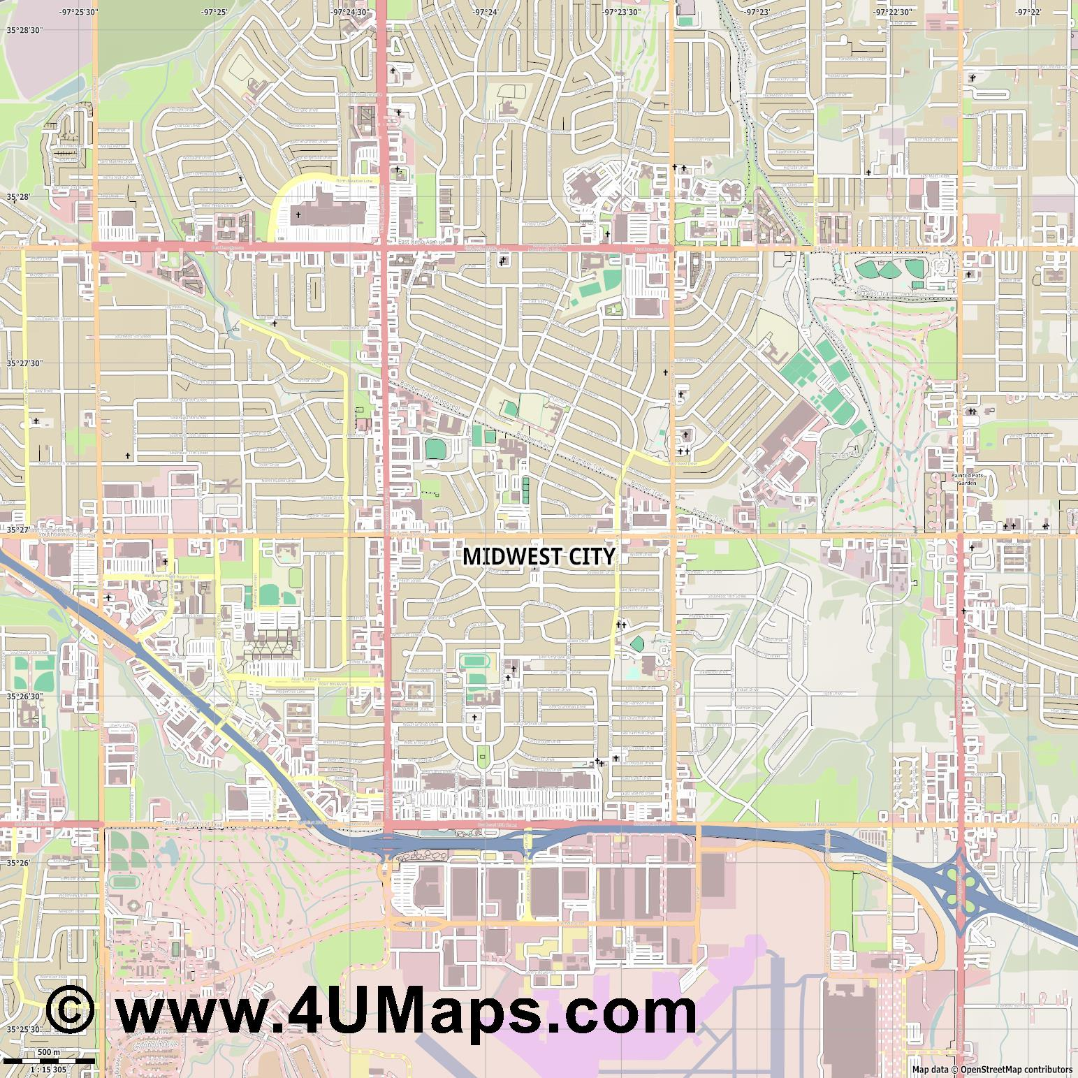Midwest City  jpg ultra high detail preview vector city map