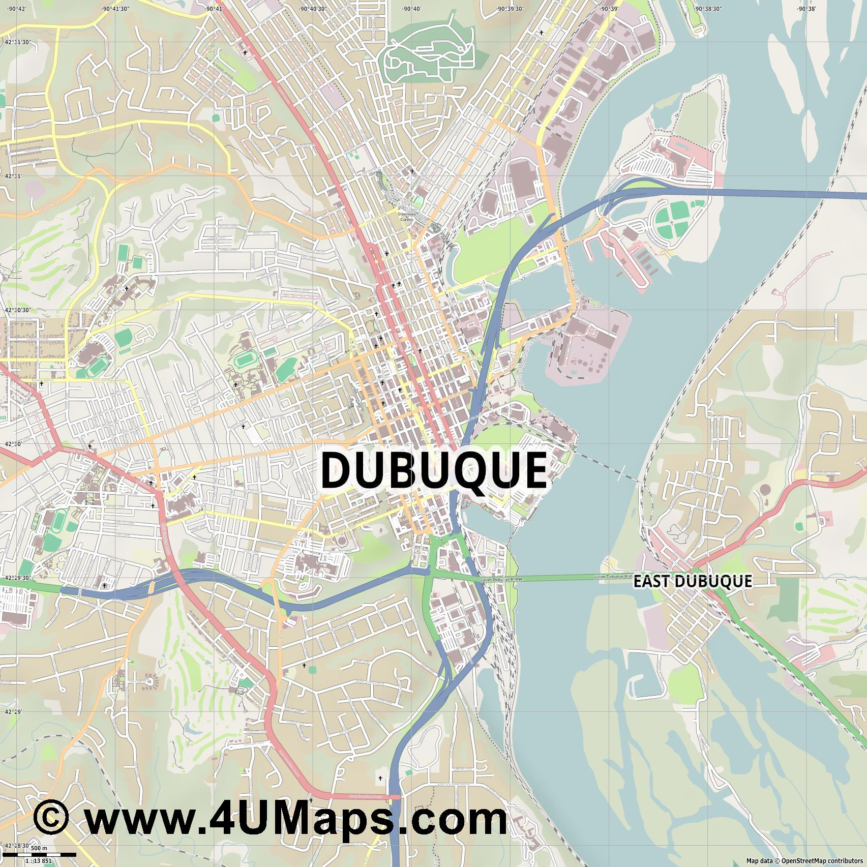 Dubuque  jpg ultra high detail preview vector city map