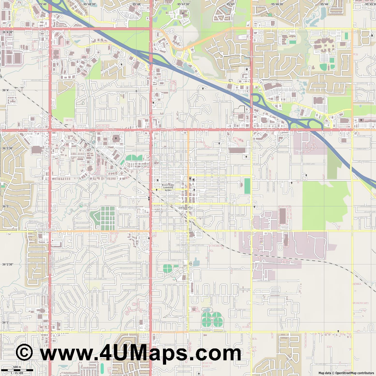 PDF, Svg Scalable Vector City Map Broken Arrow
