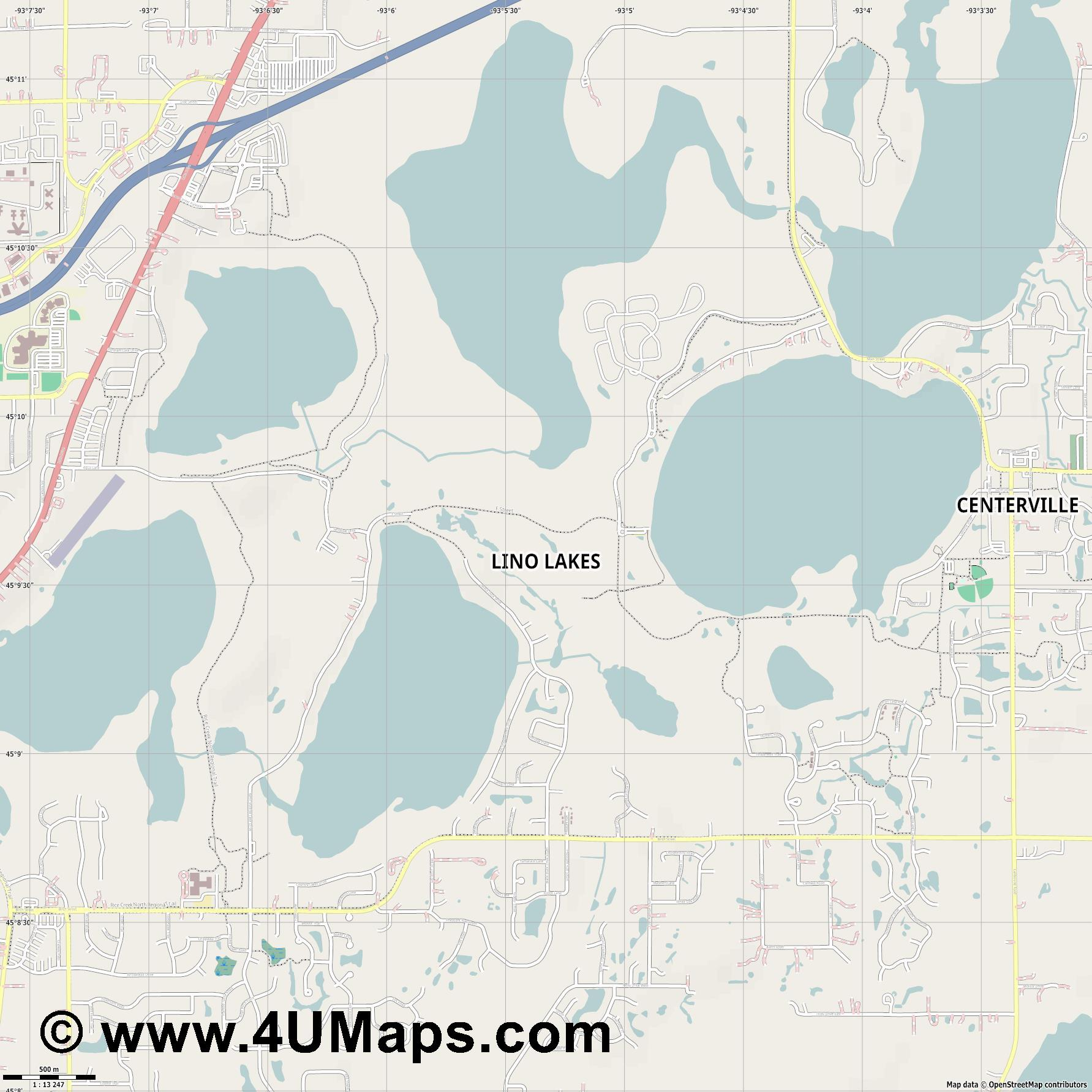 Lino Lakes  jpg ultra high detail preview vector city map
