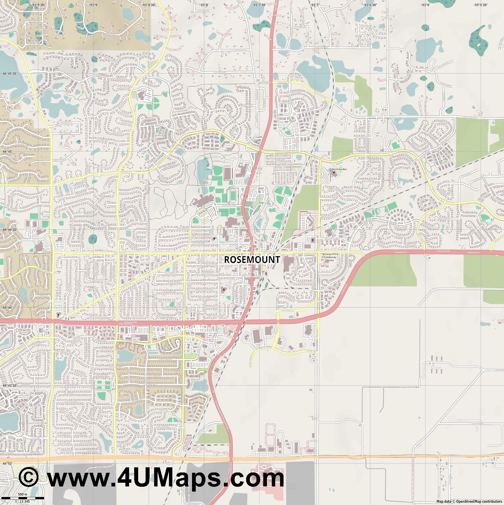 Rosemount  jpg ultra high detail preview vector city map